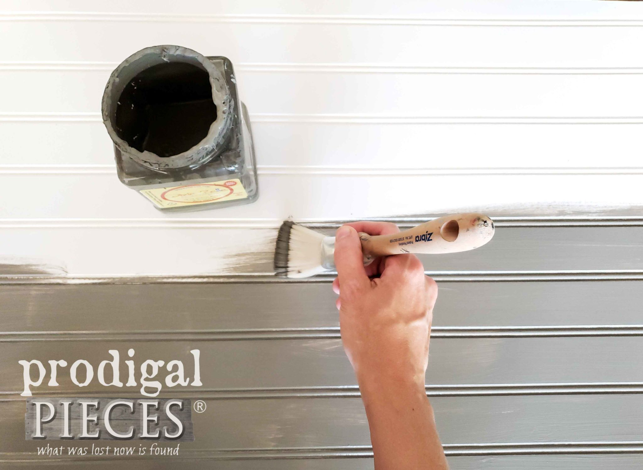 Painting Beadboard with Zibra Fan Brush | prodigalpieces.com