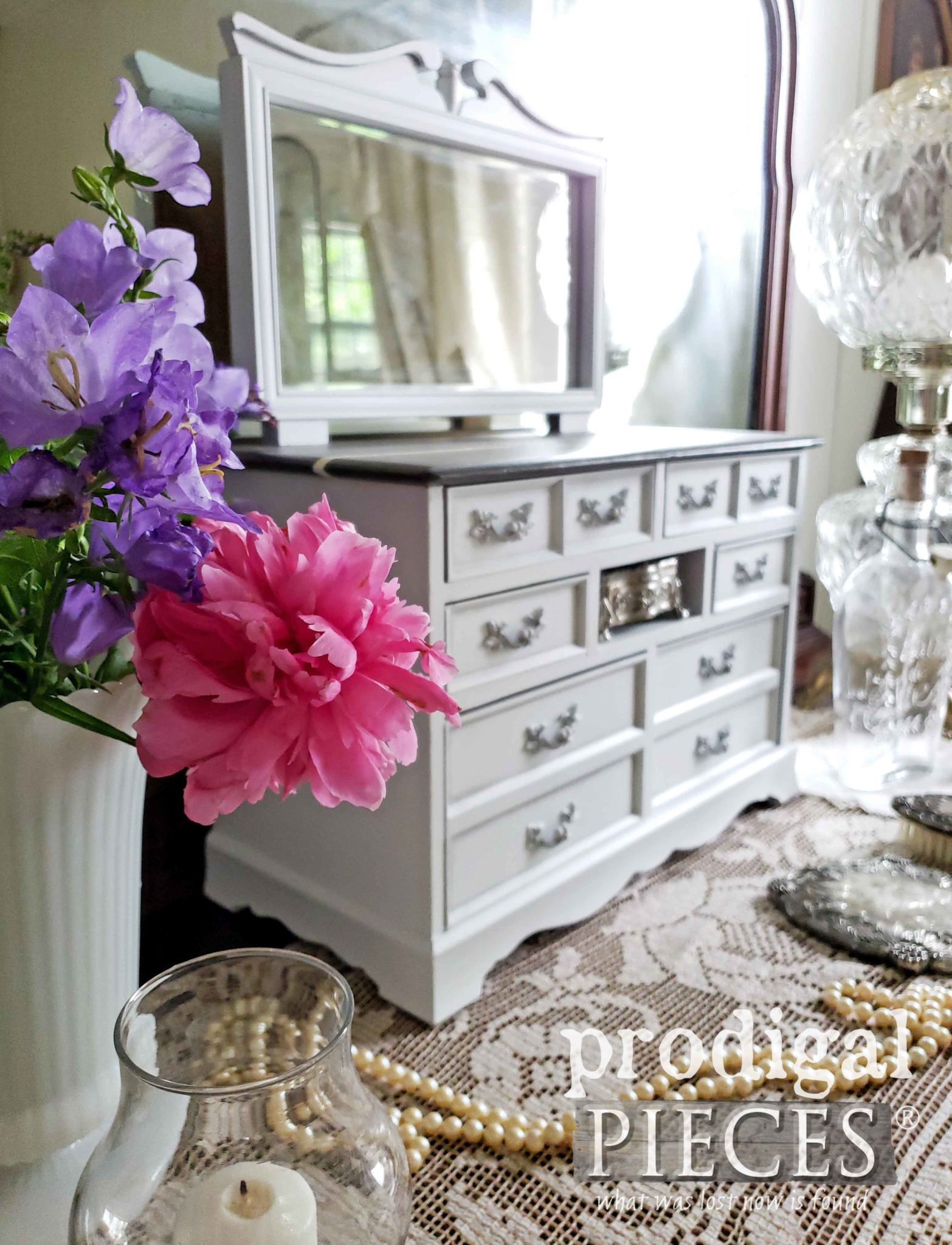 Pink Peony Dresser Vignette with Mini Dresser Musical Jewelry Box by Larissa of Prodigal Pieces | prodigalpieces.com