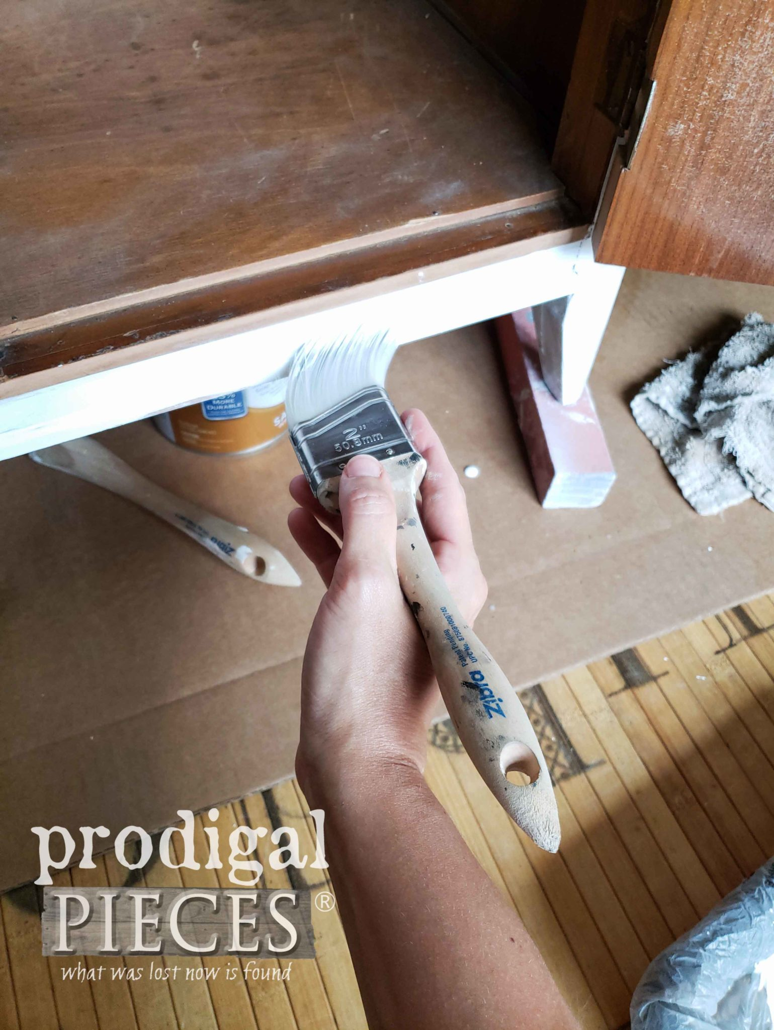 Priming Vintage Buffet with Kilz and Zibra Paint Brush | prodigalpieces.com