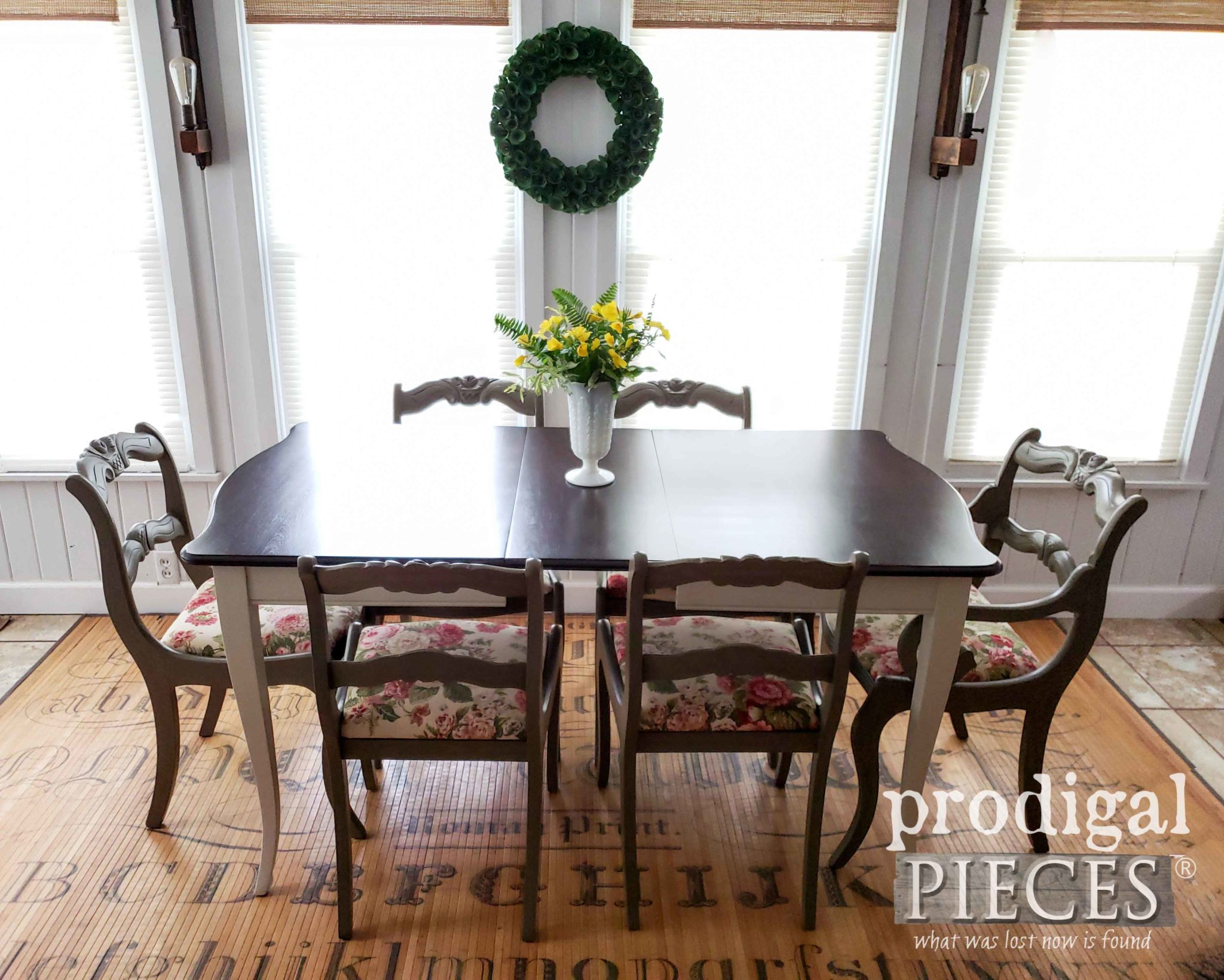 Beautifully Restored Vintage Dining Room Table with Upholstered Chairs by Larissa of Prodigal Pieces | prodigalpieces.com
