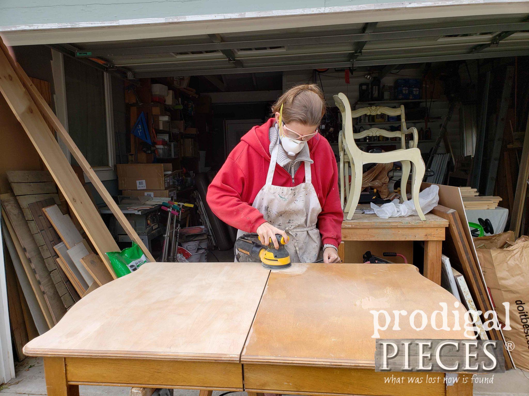 Larissa of Prodigal Pieces refinishing Maple Table Top | prodigalpieces.com
