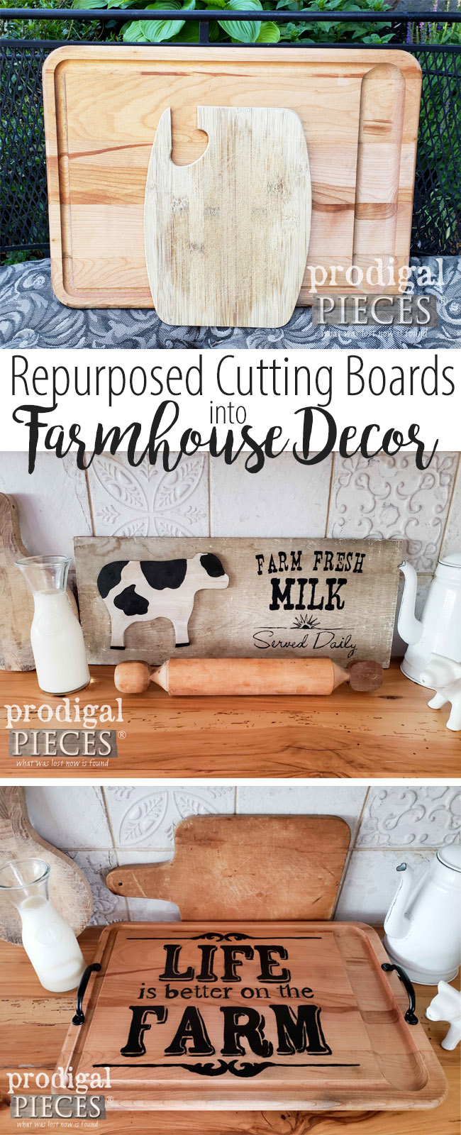 Don't toss out those old cutting boards. See how Larissa of Prodigal Pieces took these repurposed cutting boards a whole new life. See the details at prodigalpieces.com #prodigalpieces #trashure #farmhouse #homedecor #handmade