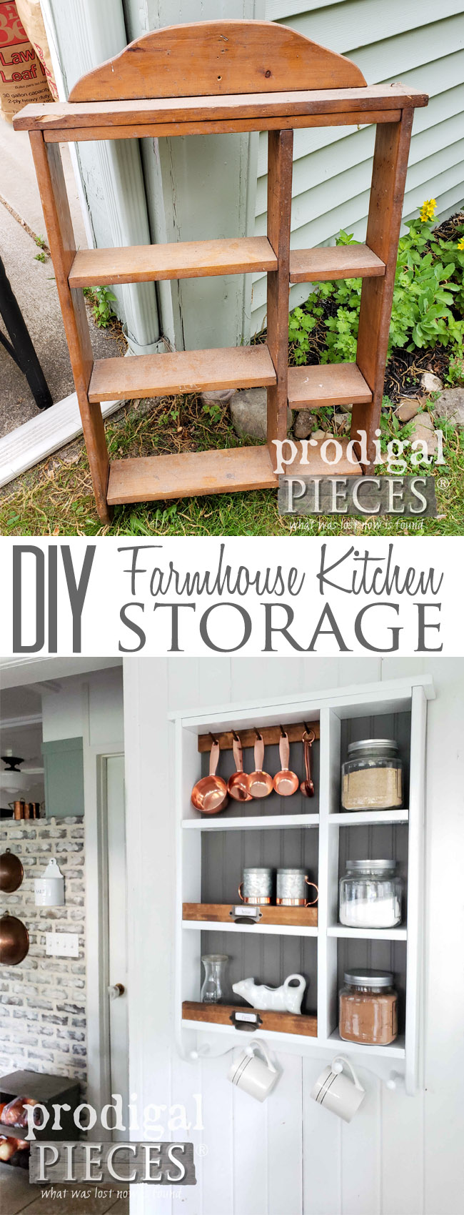 Wow! This tired looking shelf was transformed into fantastic farmhouse kitchen storage with a little elbow grease. See the DIY details at Prodigal Pieces | prodigalpieces.com #prodigalpieces #homedecor #farmhouse #diy #shopping