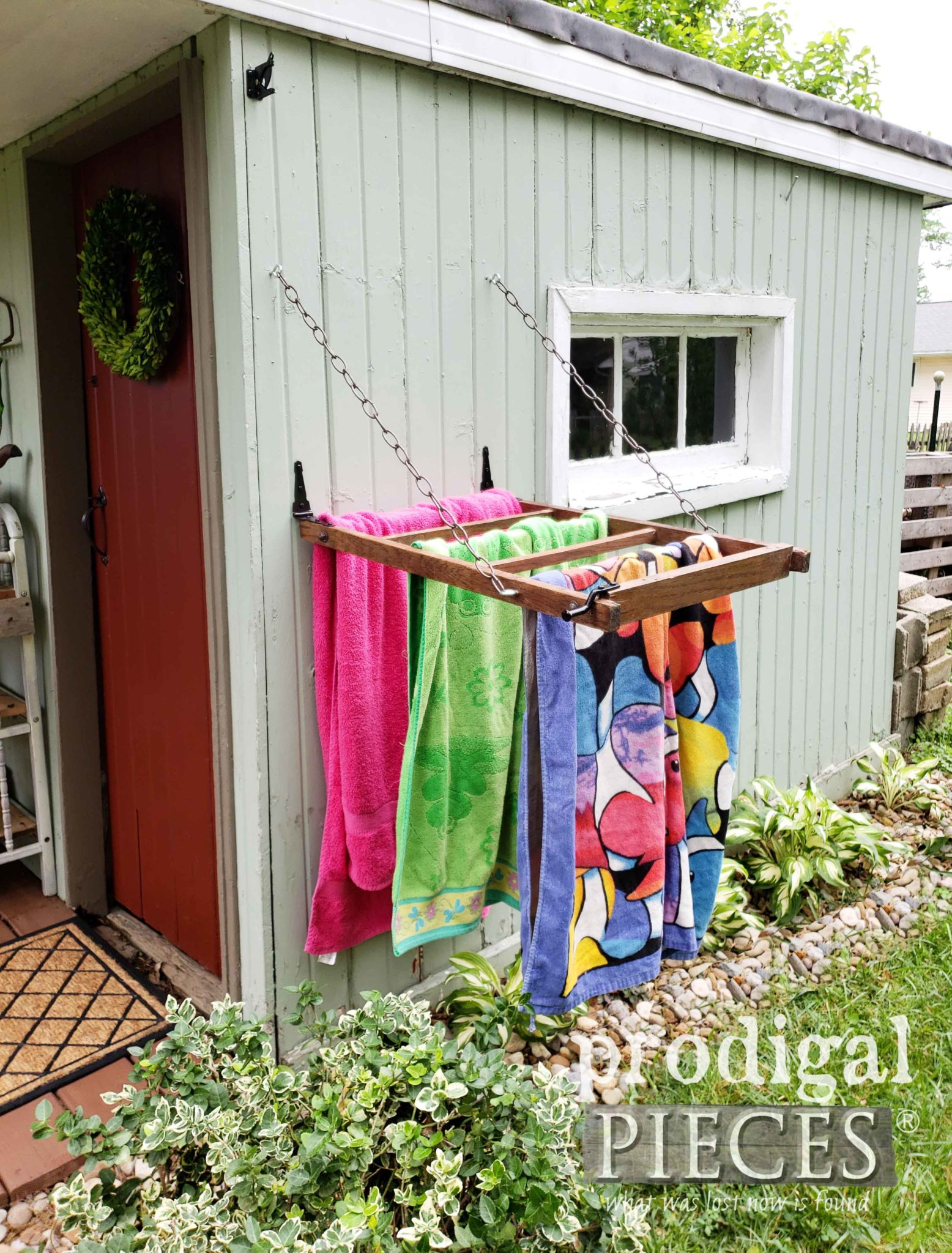 Repurposed Towel Drying Rack from Antique Morris Rocking Chair by Larissa of Prodigal Pieces | prodigalpieces.com