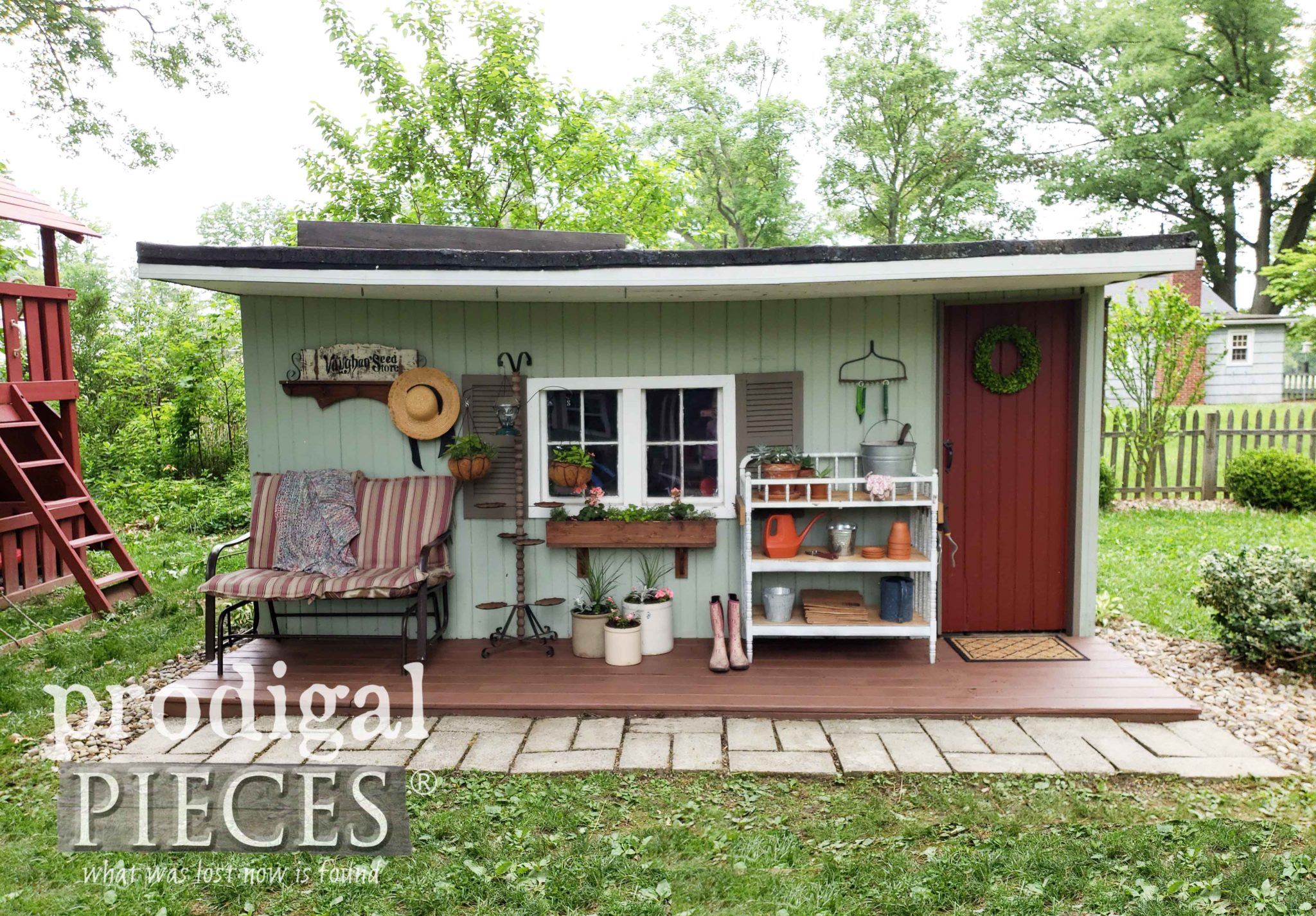 Rustic Farmhouse Style Garden Shed with DIY Spring Decor by Prodigal Pieces | prodigalpieces.com