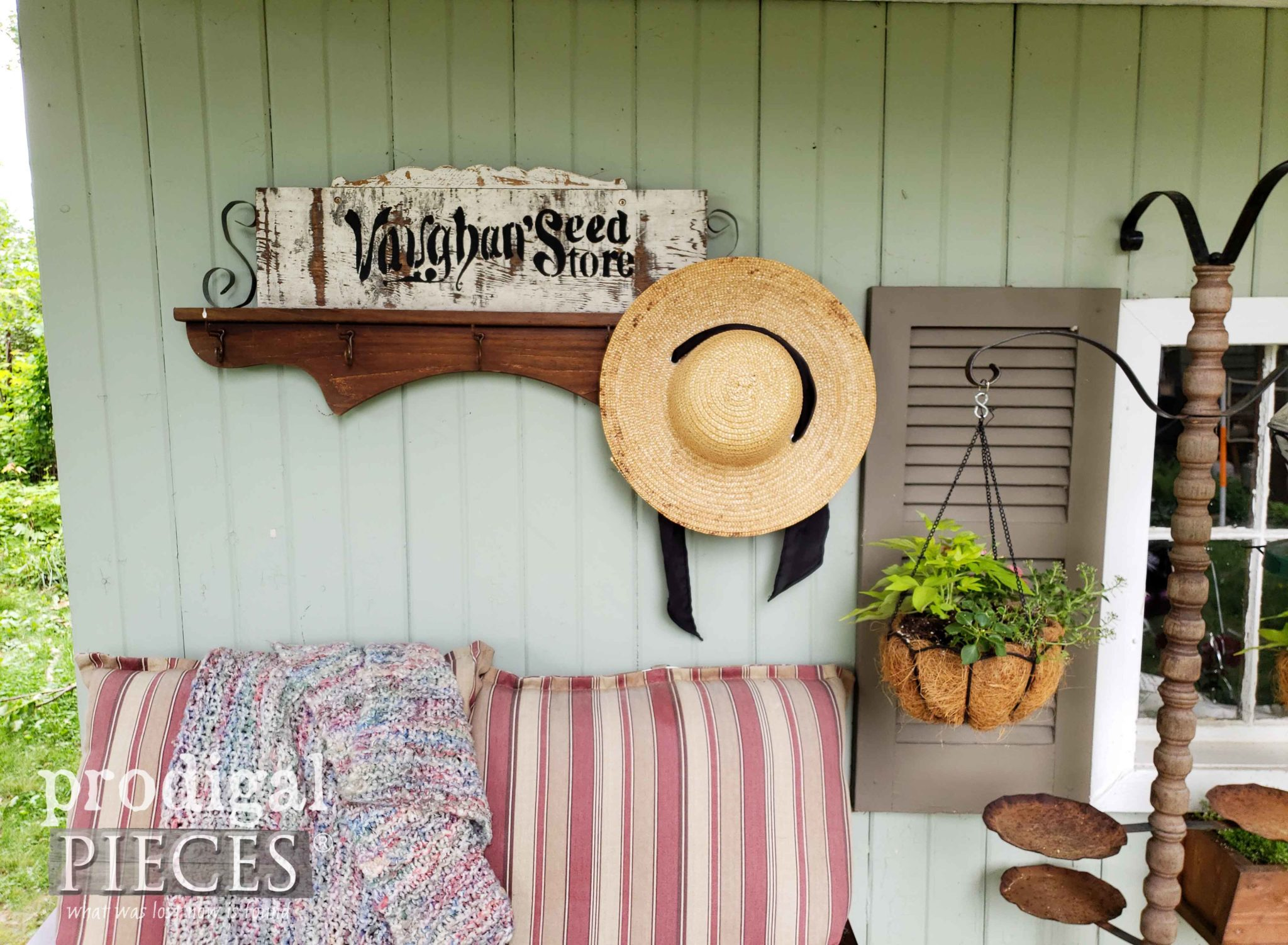 Rustic Repurposed Coat Rack for Garden Shed by Larissa of Prodigal Pieces | prodigalpieces.com
