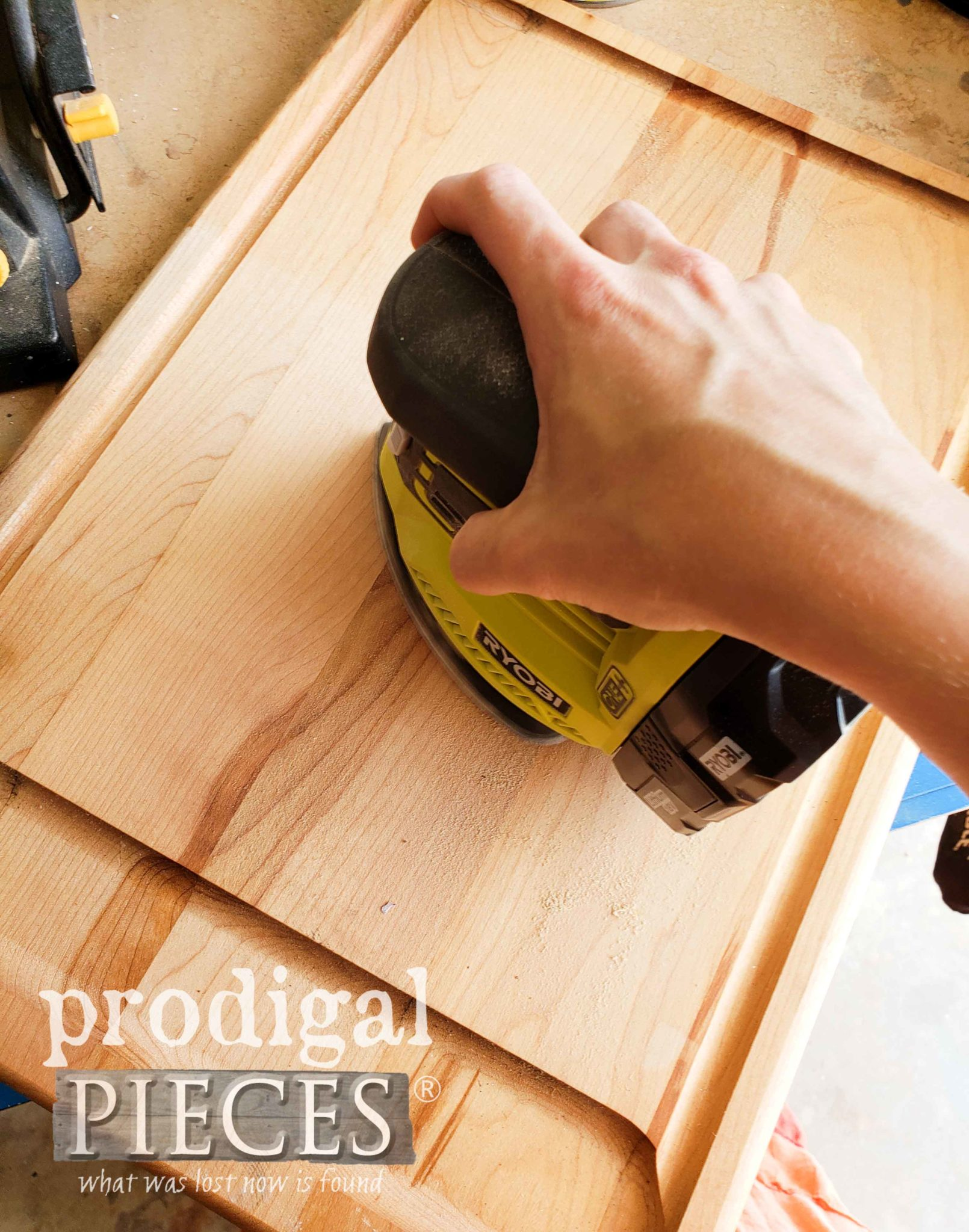 Sanding Cutting Board with Ryobi Corner Cat by Prodigal Pieces | prodigalpieces.com