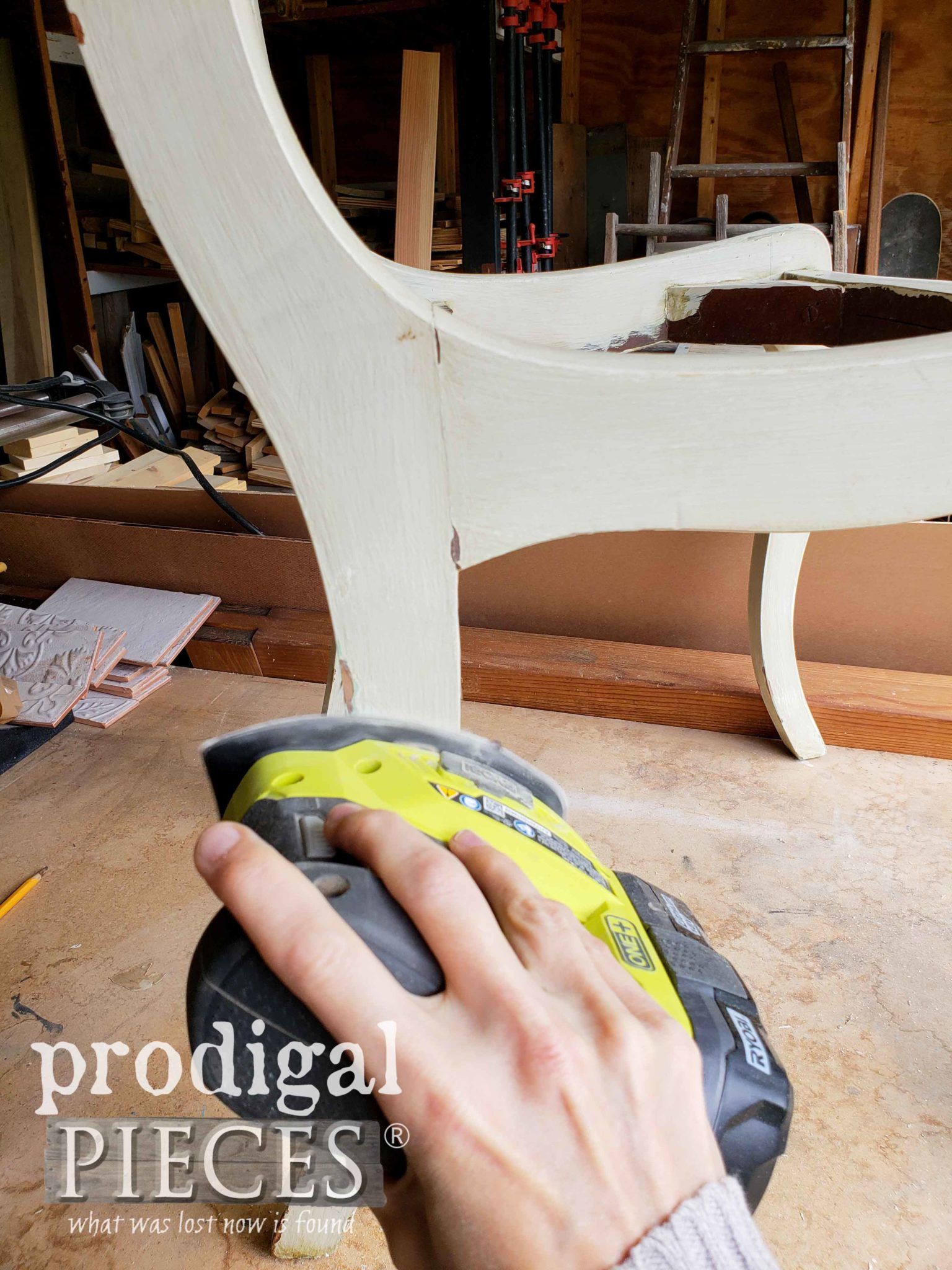Sanding Painted Dining Chairs to Prep for Paint | prodigalpieces.com