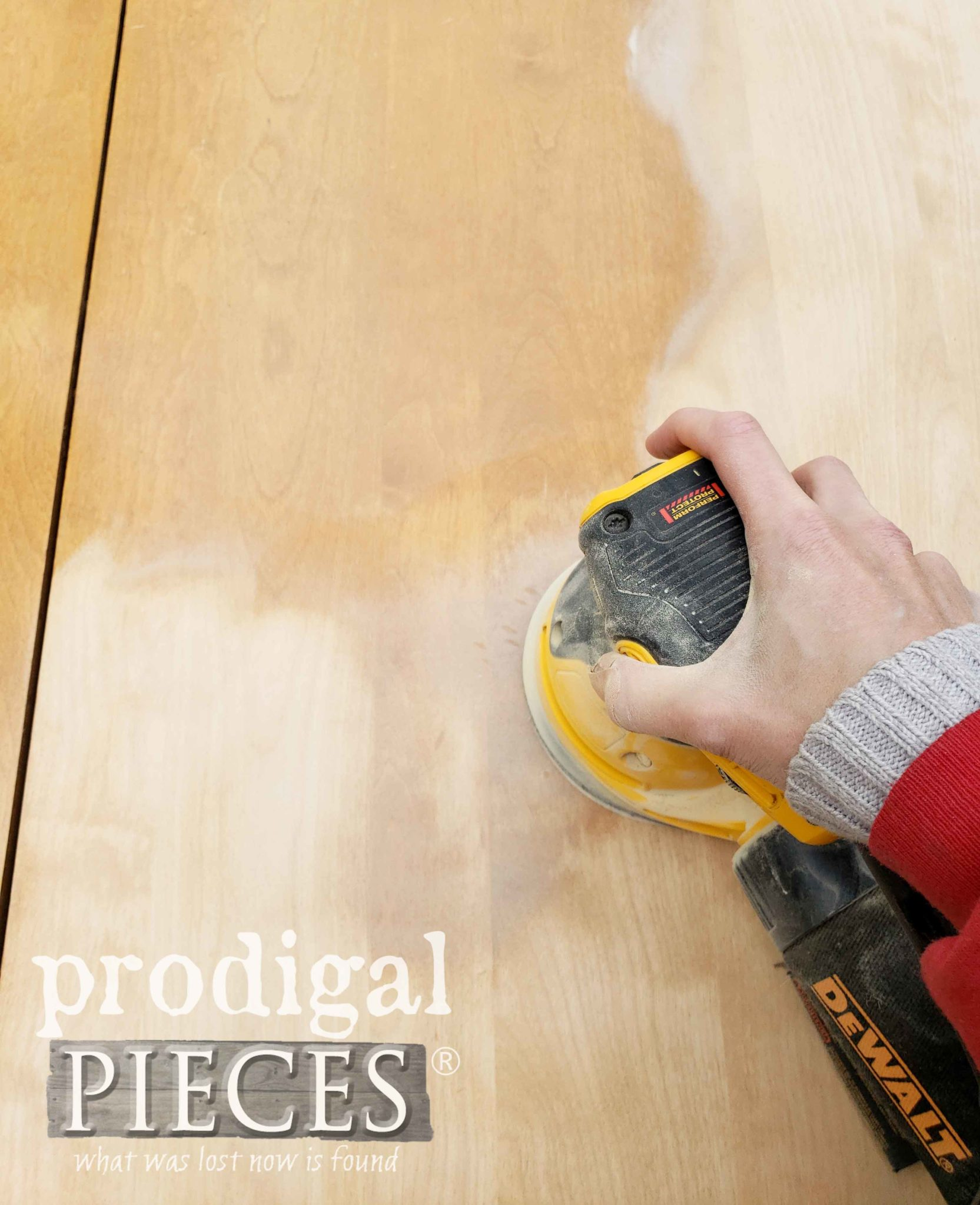 Sanding Dining Table Top with DeWalt Sander by Prodigal Pieces | prodigalpieces.com