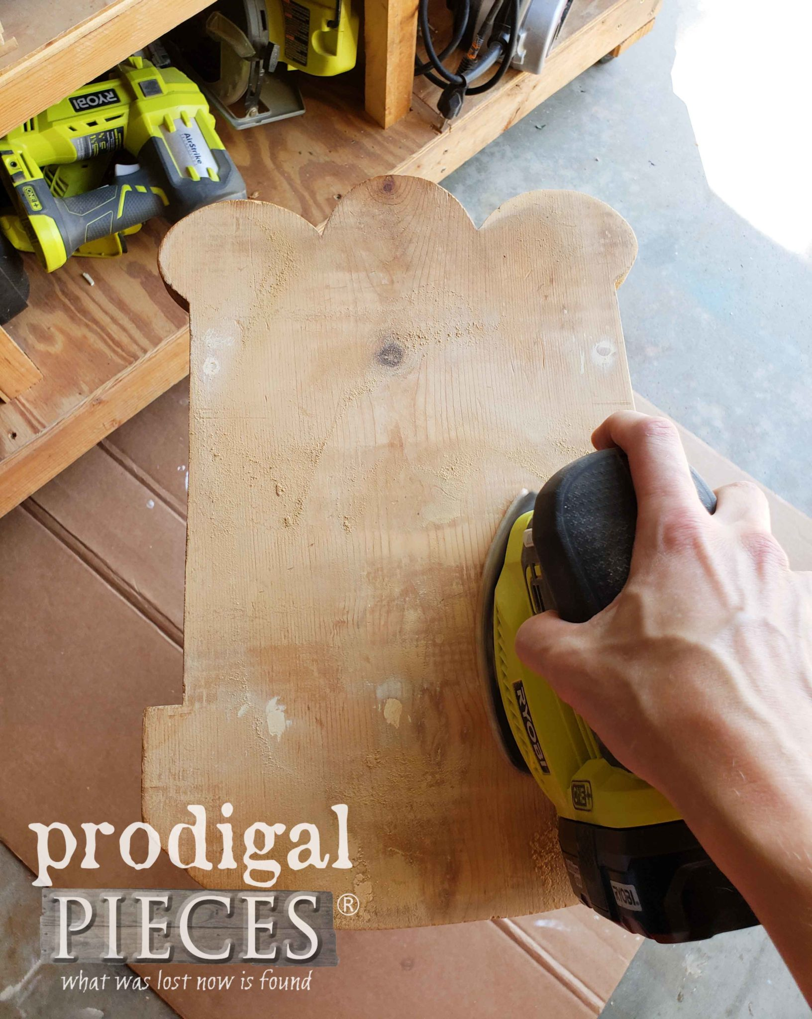 Sanding Wooden Doll Cradle After Repairs with Ryobi Corner Cat | prodigalpieces.com