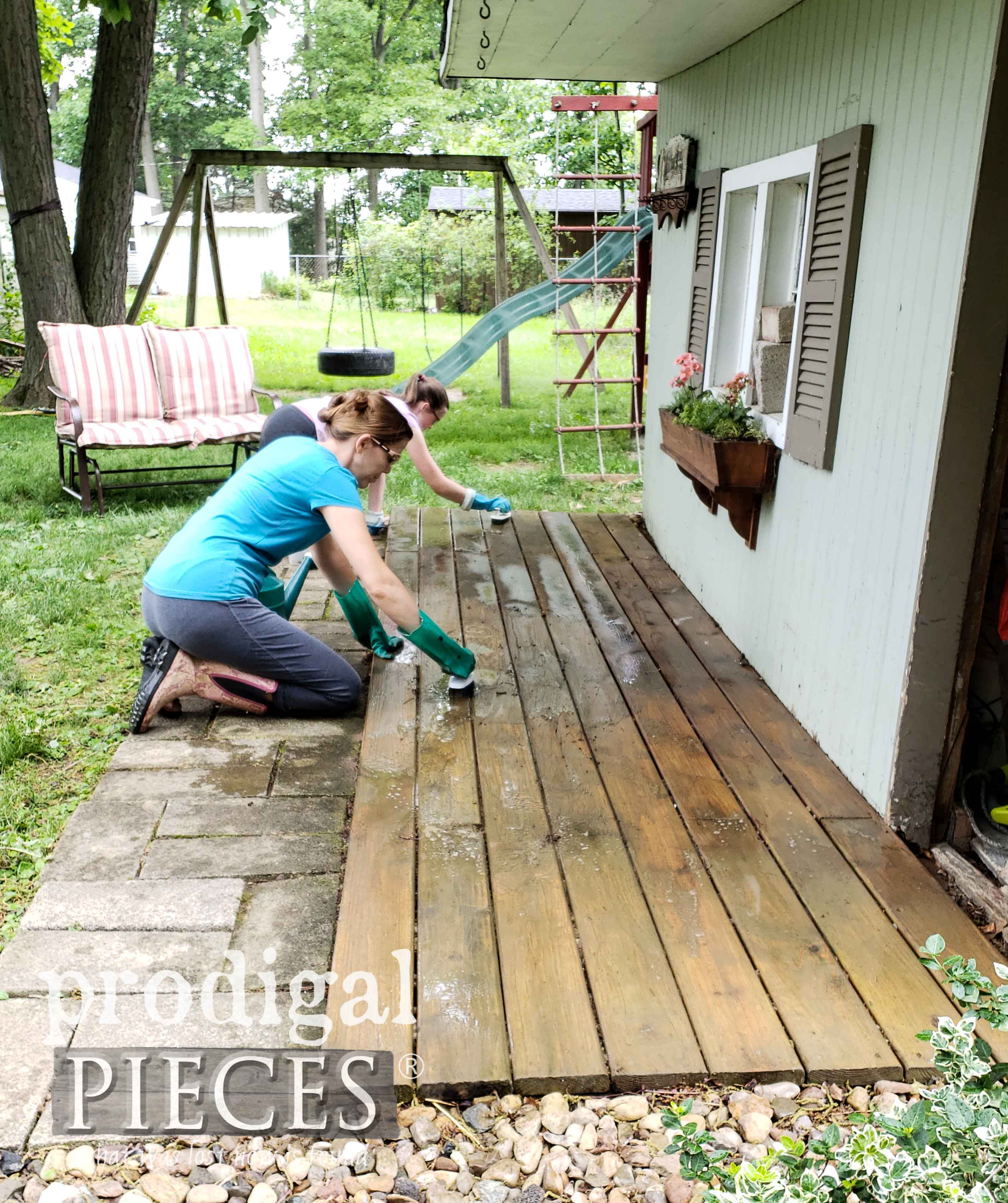 Scrubbing Dirty Garden Shed Deck by Prodigal Pieces | prodigalpieces.com