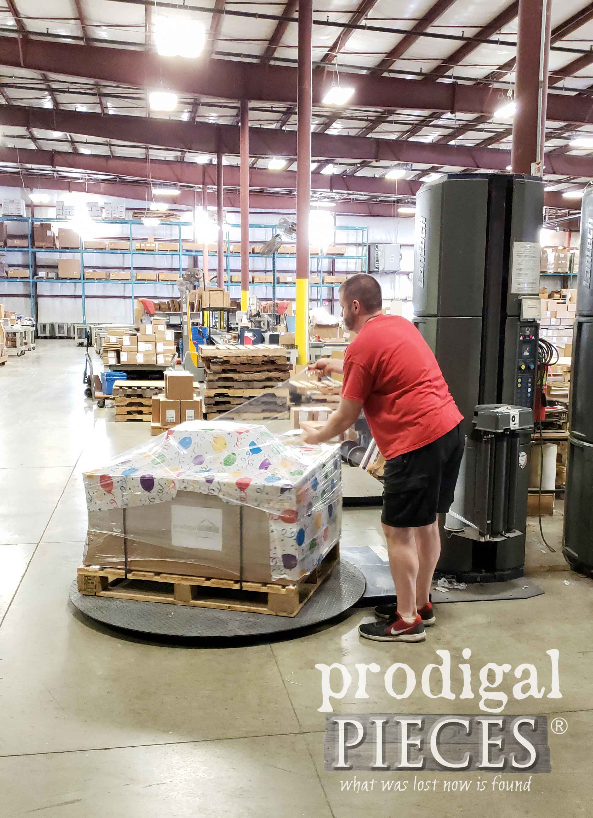 Shrink Wrapping Pallet for Finding Home Furniture Program by Prodigal Pieces | prodigalpieces.com