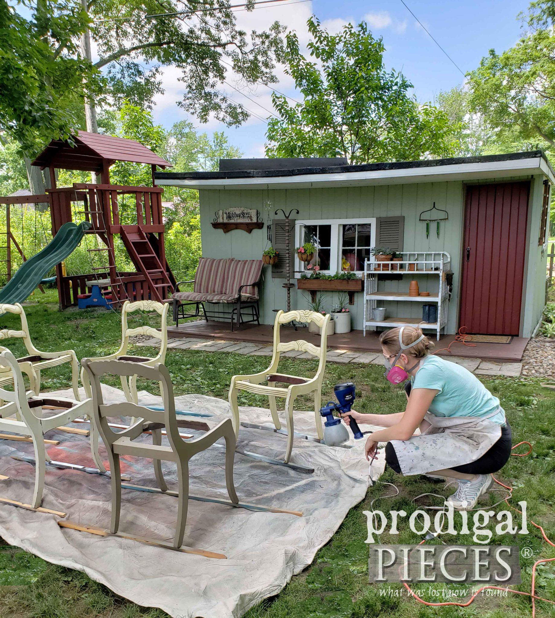 Spray Painting Dining Room Chairs the easy way with the HomeRight Super Finish Max Paint Sprayer by Larissa of Prodigal Pieces | prodigalpieces.com