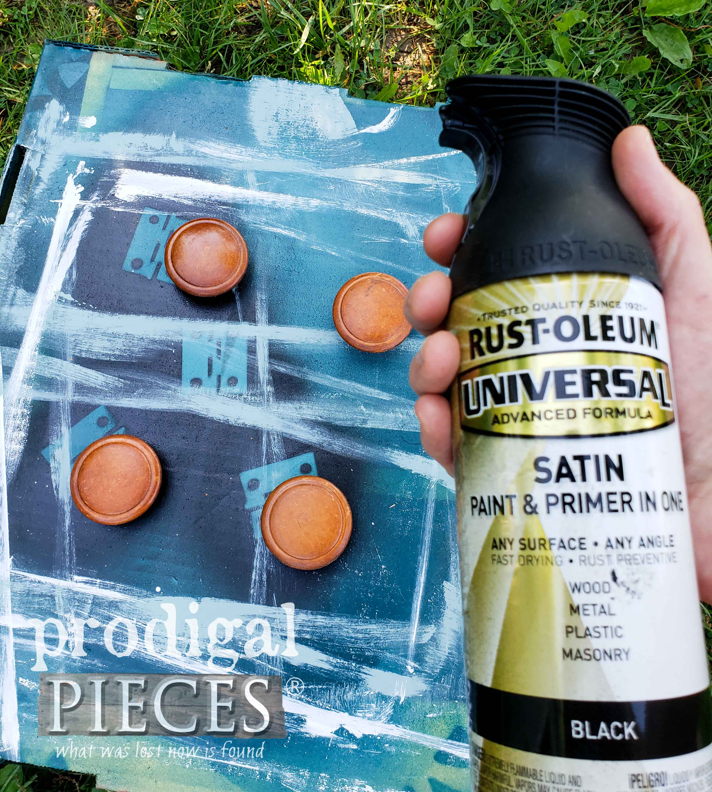 Spray Painting Repurposed Cutting Board feet with RustOleum Satin Black | prodigalpieces.com