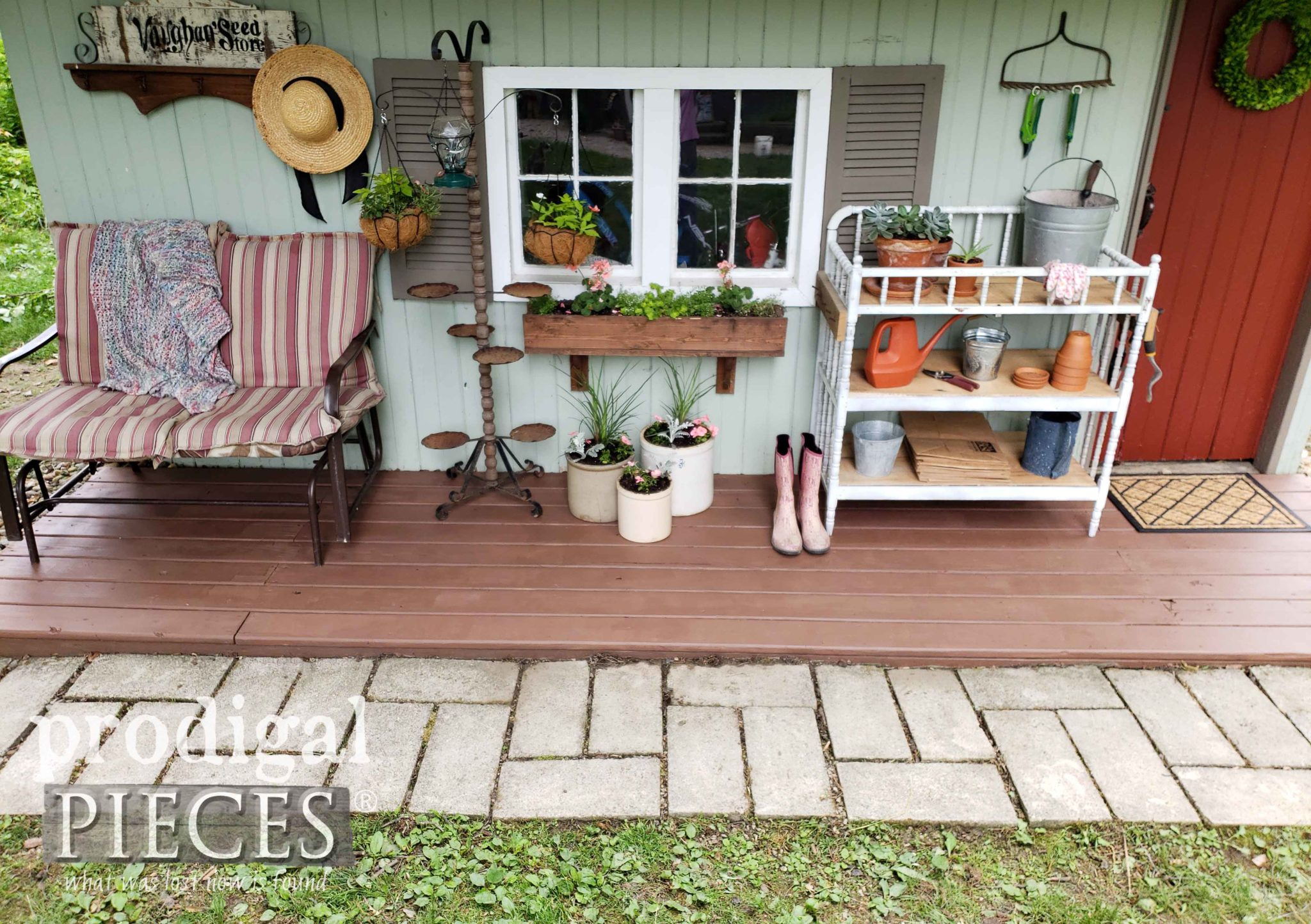 Stained Shed Floor for Updated Makeover by Prodigal Pieces | prodigalpieces.com