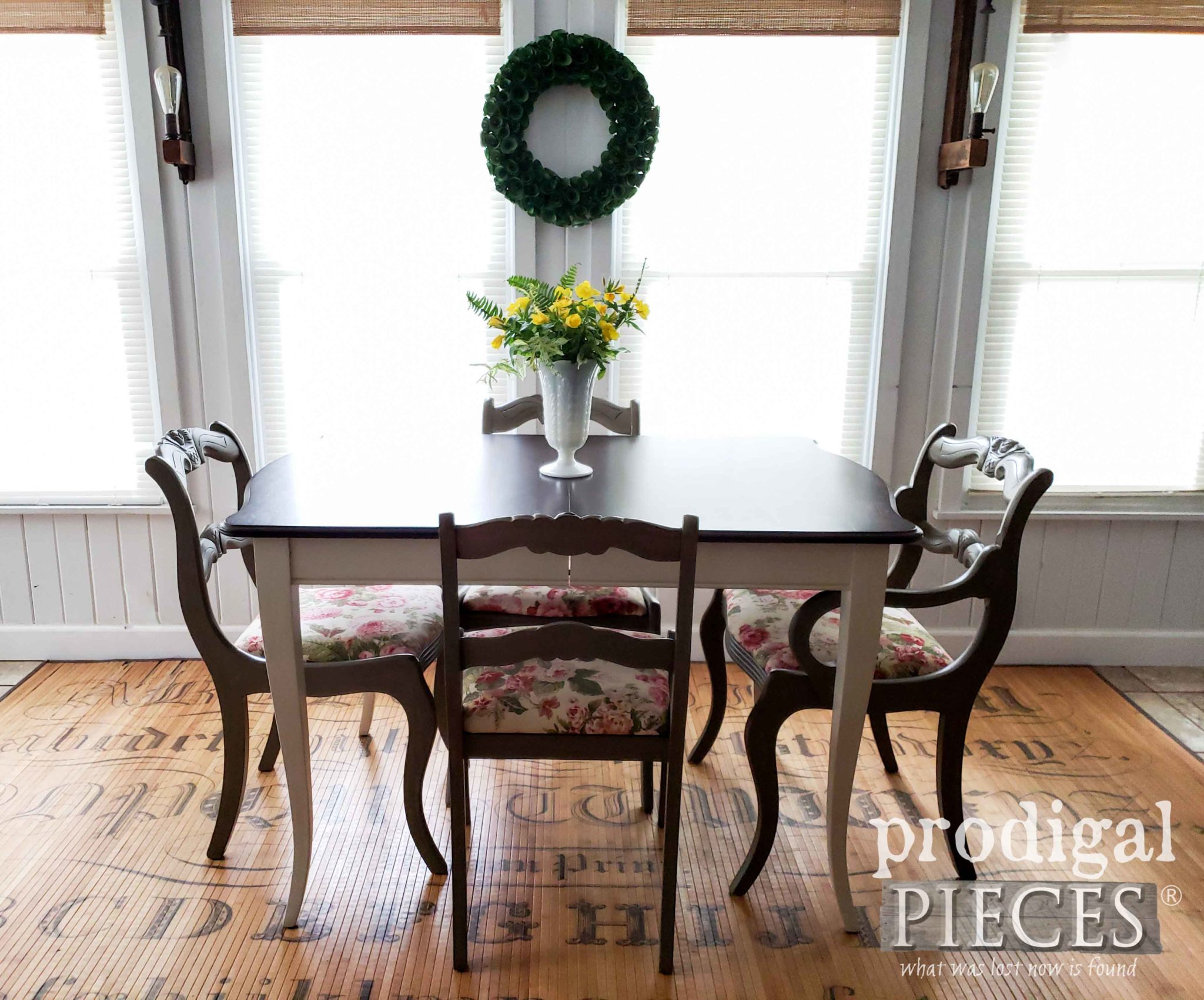 Traditional Vintage Dining Set with Extension Table and Upholstered Chairs by Larissa of Prodigal Pieces | prodigalpieces.com