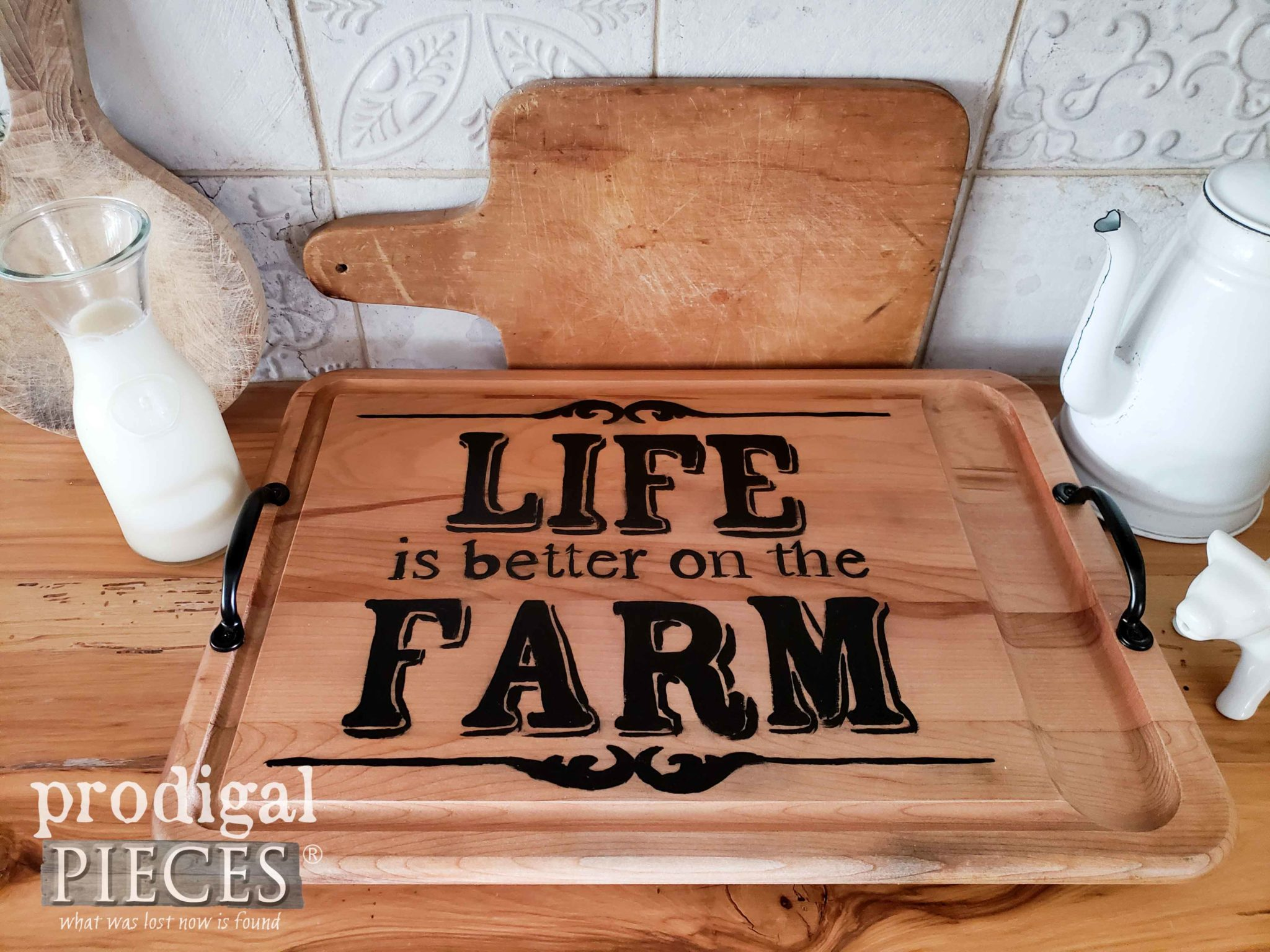 "Upcycled Cutting Board with ""Life is Better on the Farm"" Typography. DIY rustic decor at shop.prodigalpieces.com"
