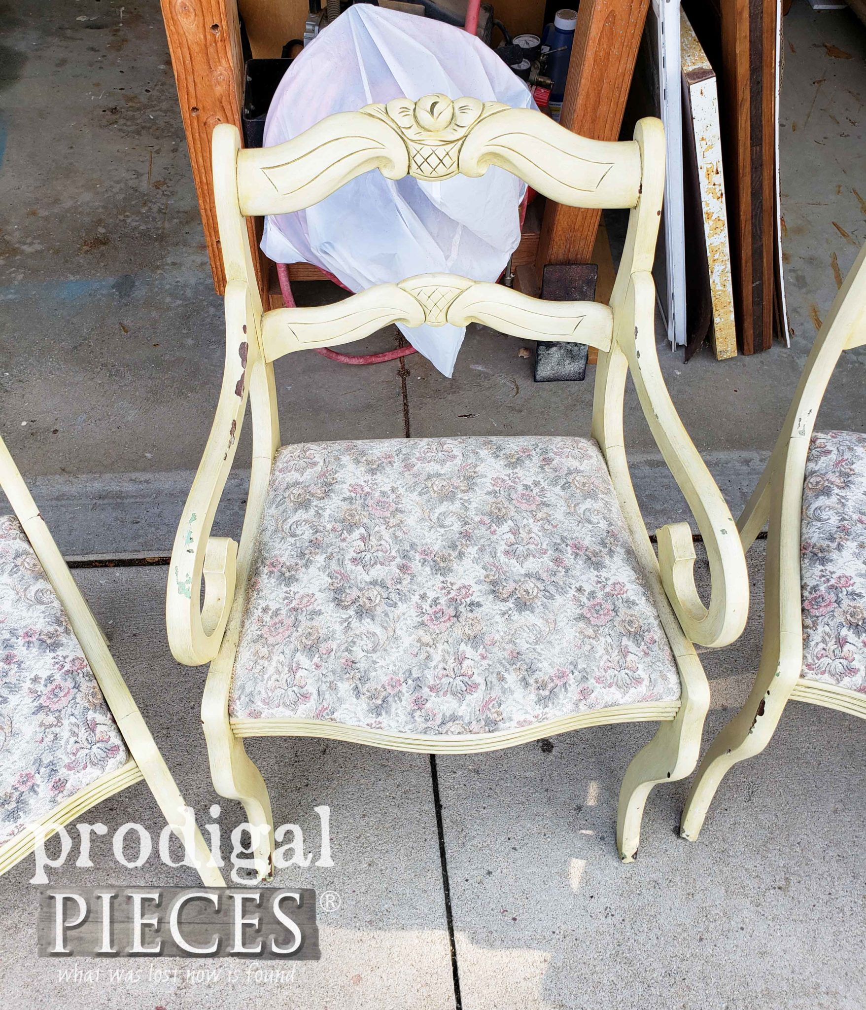 Vintage Rose Back Chair with Upholstered Seat | prodigalpieces.com