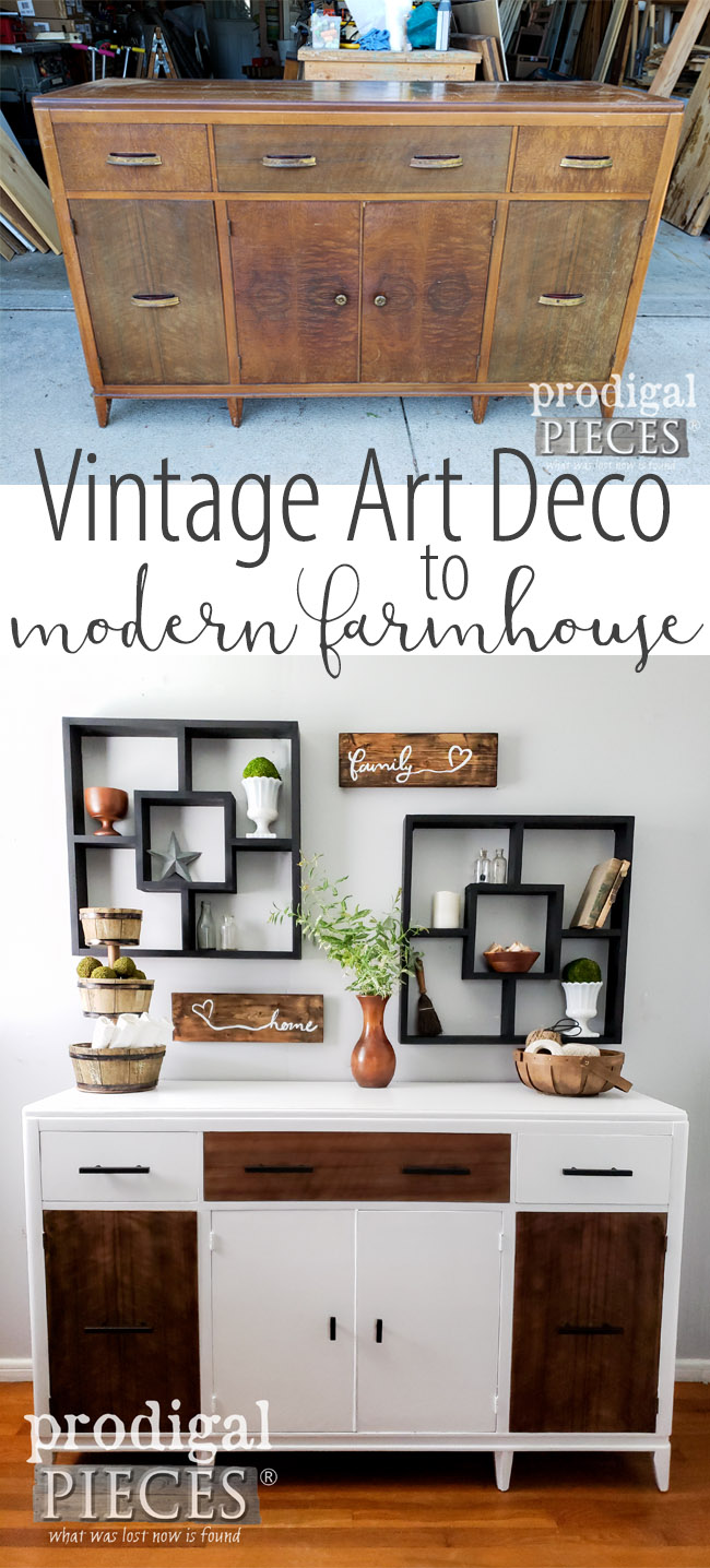 Wow! This worn out vintage Art Deco Buffet got a new life with a Modern Farmhouse Flair by Larissa of Prodigal Pieces | Get the DIY details at prodigalpieces.com | #prodigalpieces #farmhouse #furniture #homedecor #shopping #diy