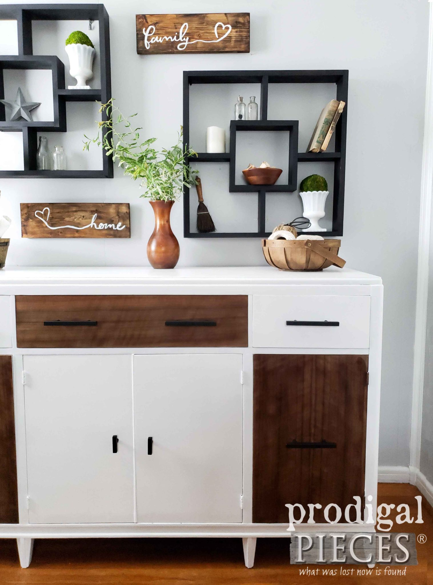 Vintage Buffet Gets Modern Farmhouse Makeover by Larissa of Prodigal Pieces | prodigalpieces.com