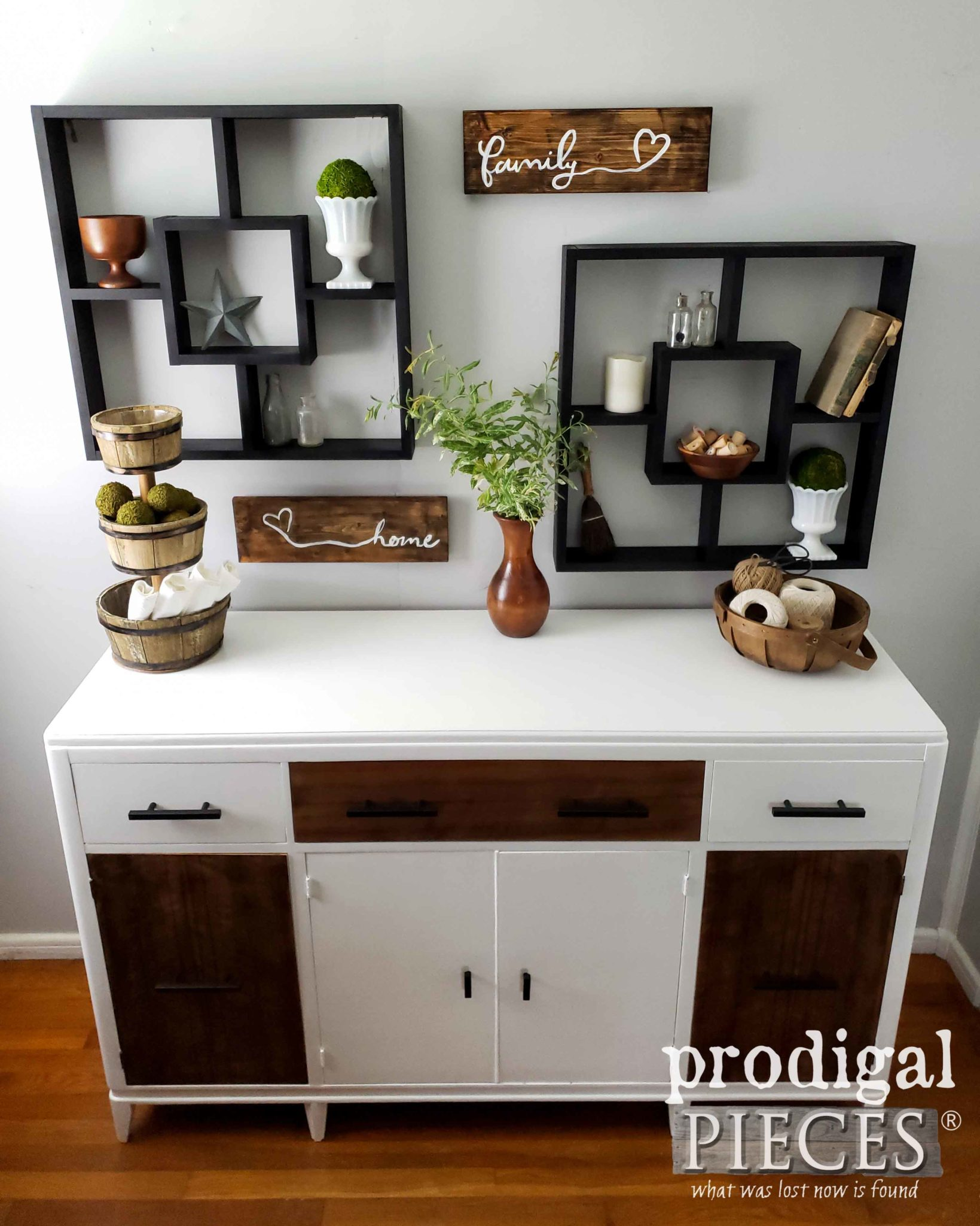 Wood and White Vintage Buffet Top | Modern Farmhouse Style Decor by Larissa of Prodigal Pieces | prodigalpieces.com