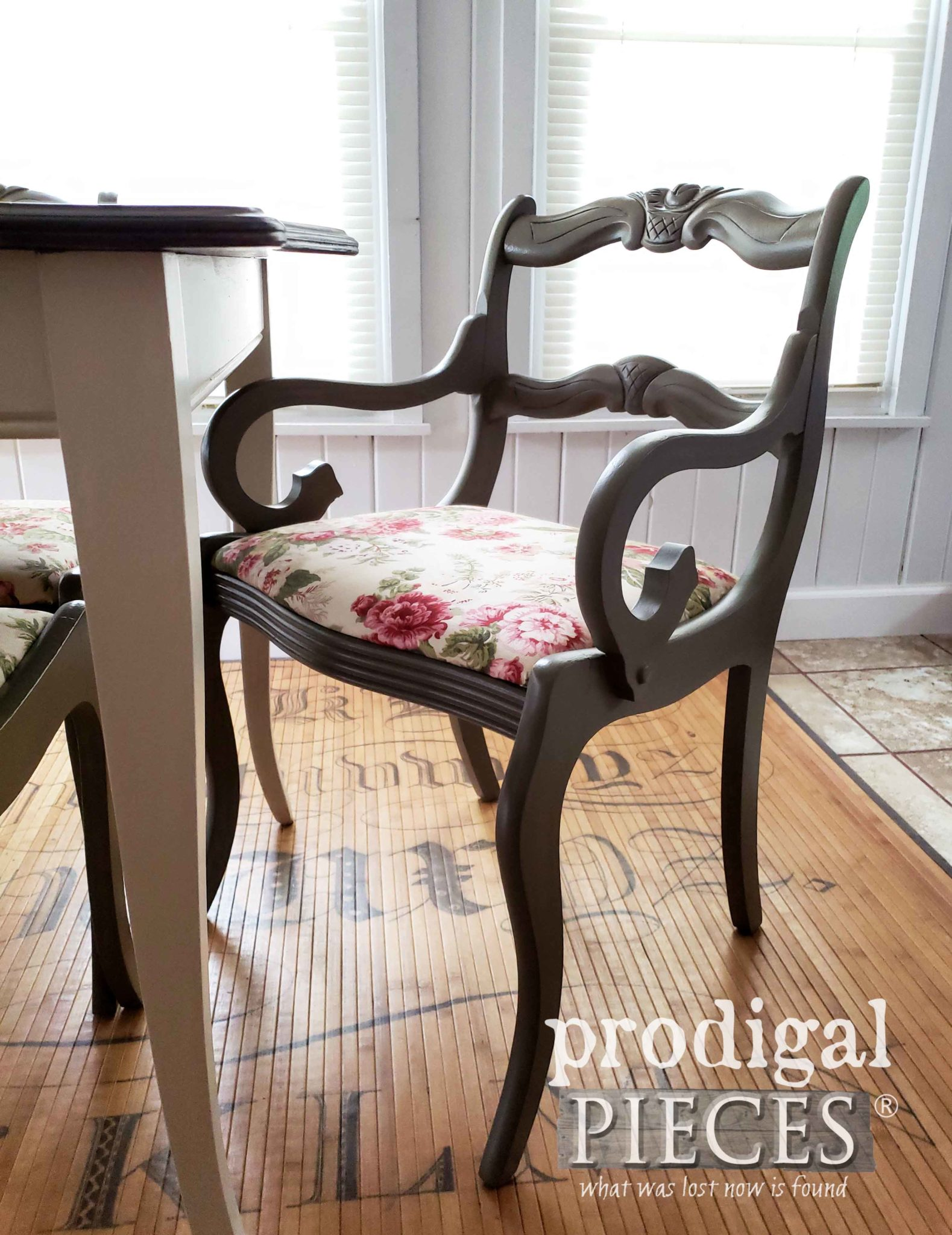 Vintage Captain's Chair with Rose Bud Carved Back by Larissa of Prodigal Pieces | prodigalpieces.com
