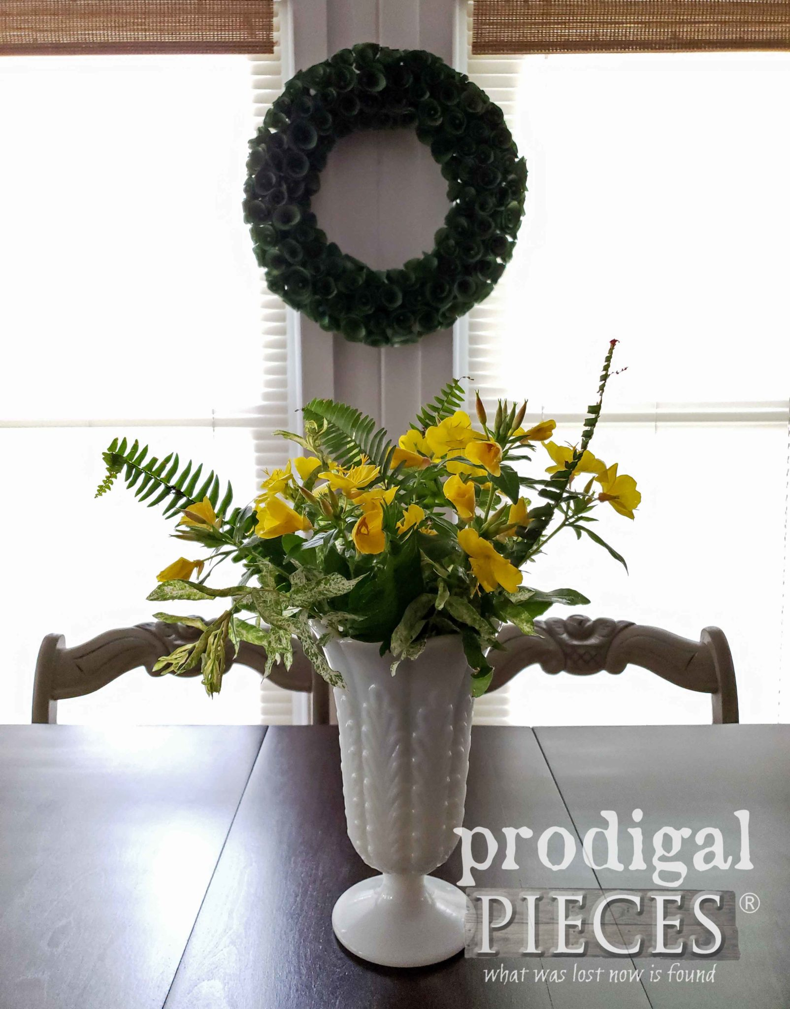 Vintage Fluted Milk Glass Vase with Floral Arrangement by Prodigal Pieces | prodigalpieces.com