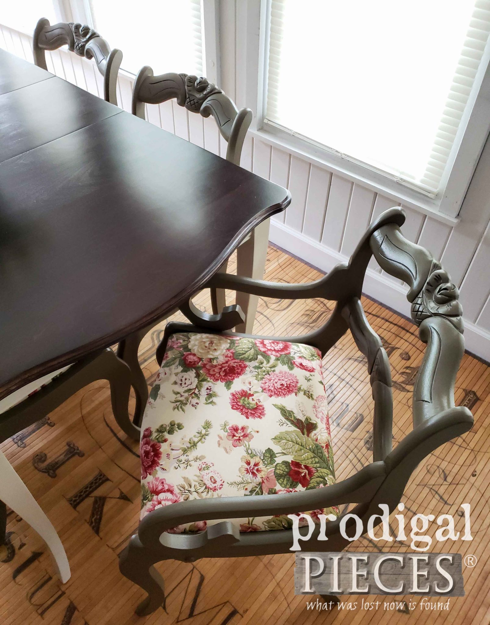 Waverly Red Rose Upholstery on Vintage Dining Chairs by Larissa of Prodigal Pieces | prodigalpieces.com