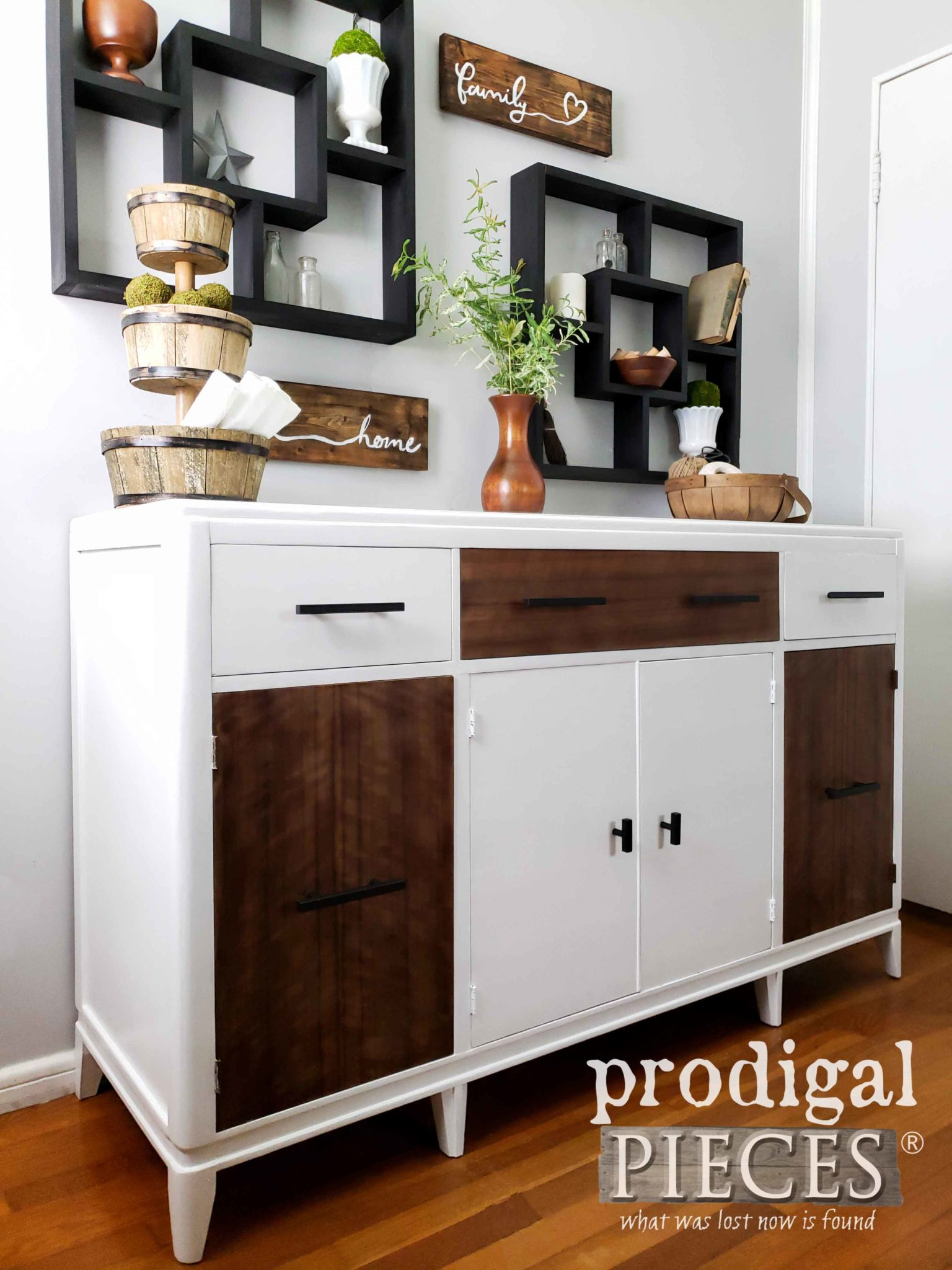 White and Wood Modern Farmhouse Buffet Entertainment Center by Larissa of Prodigal Pieces | prodigalpieces.com