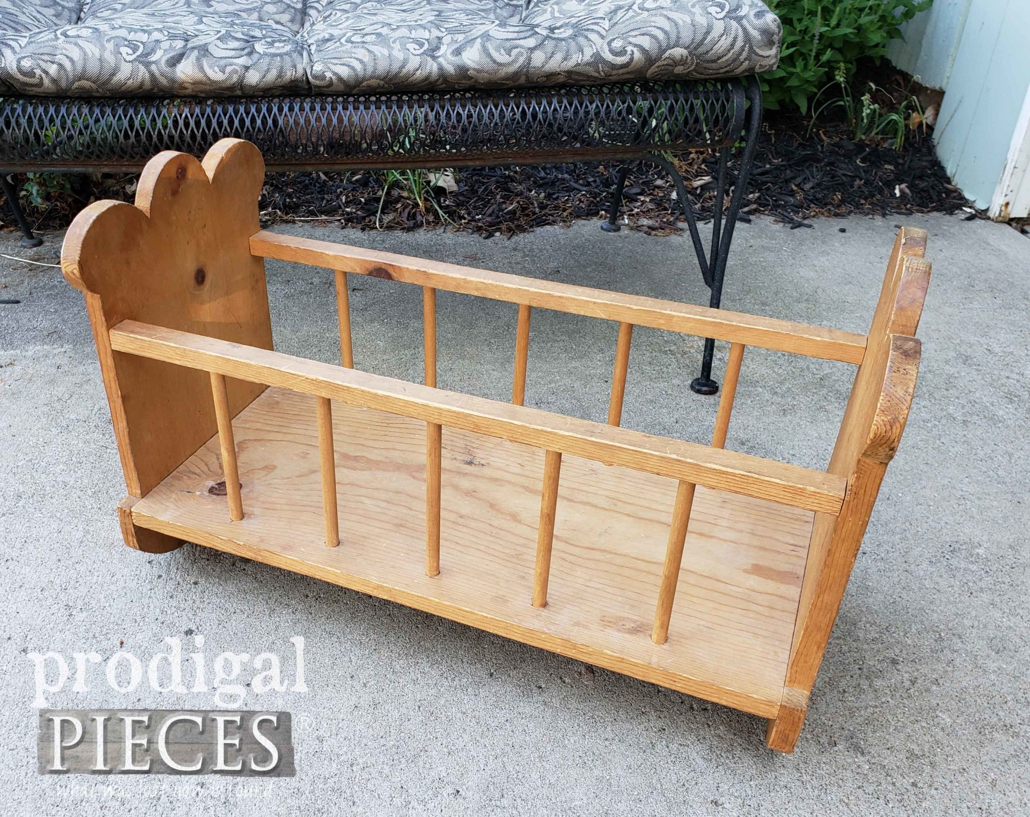 Thrifted Wooden Cradle Before Makeover by Prodigal Pieces | prodigalpieces.com