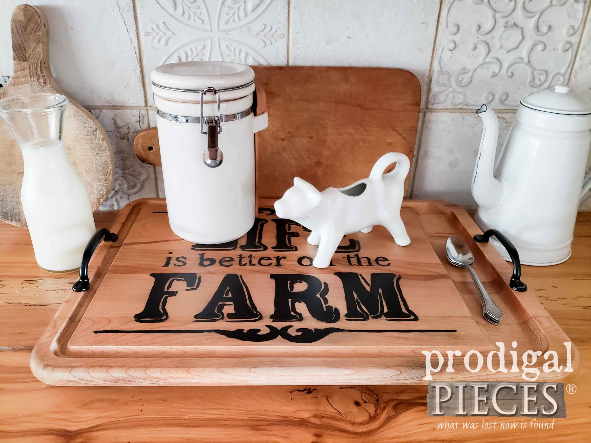 "Wooden Serving Tray with Farmhouse Style, ""Life is Better on the Farm"" by Larissa of Prodigal Pieces 