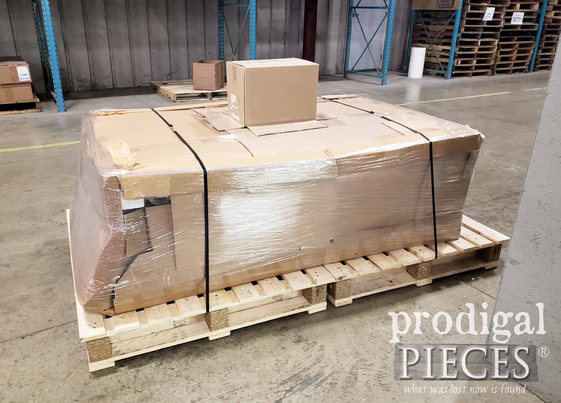 Wrapped Antique Waterfall Buffet Being Delivered to Finding Home Program Honoree Military Family | prodigalpieces.com