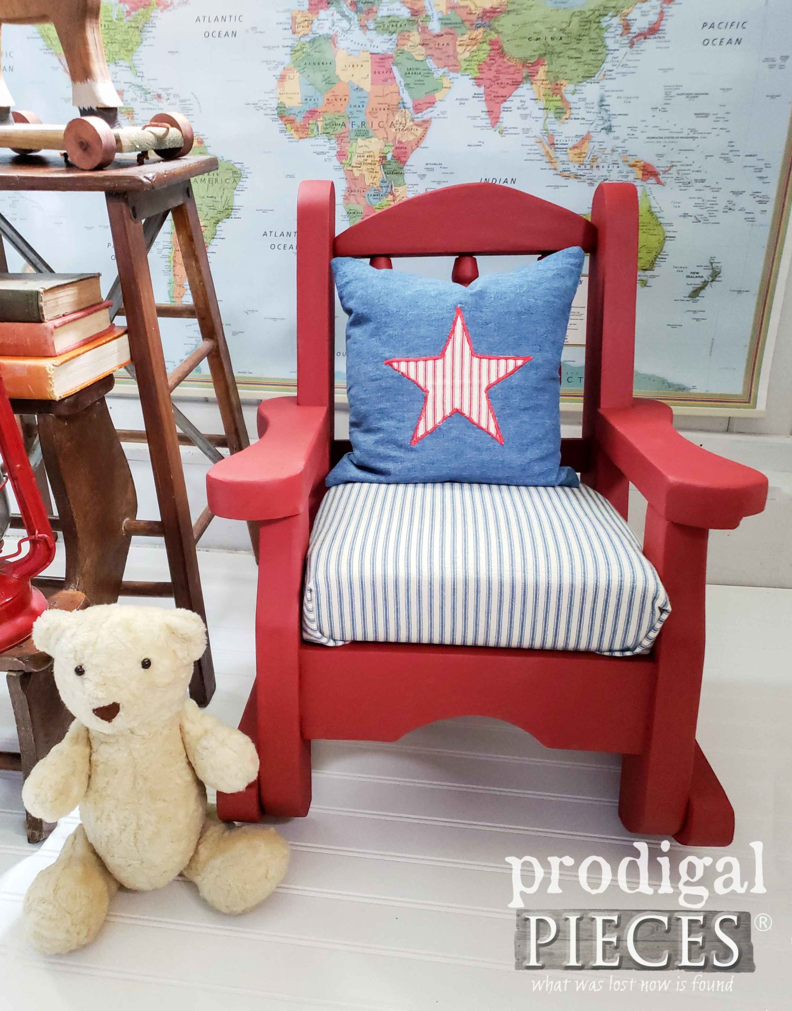 Americana Kid's Vintage Rocking Chair with New Upholstery and Paint by Larissa of Prodigal Pieces | prodigalpieces.com