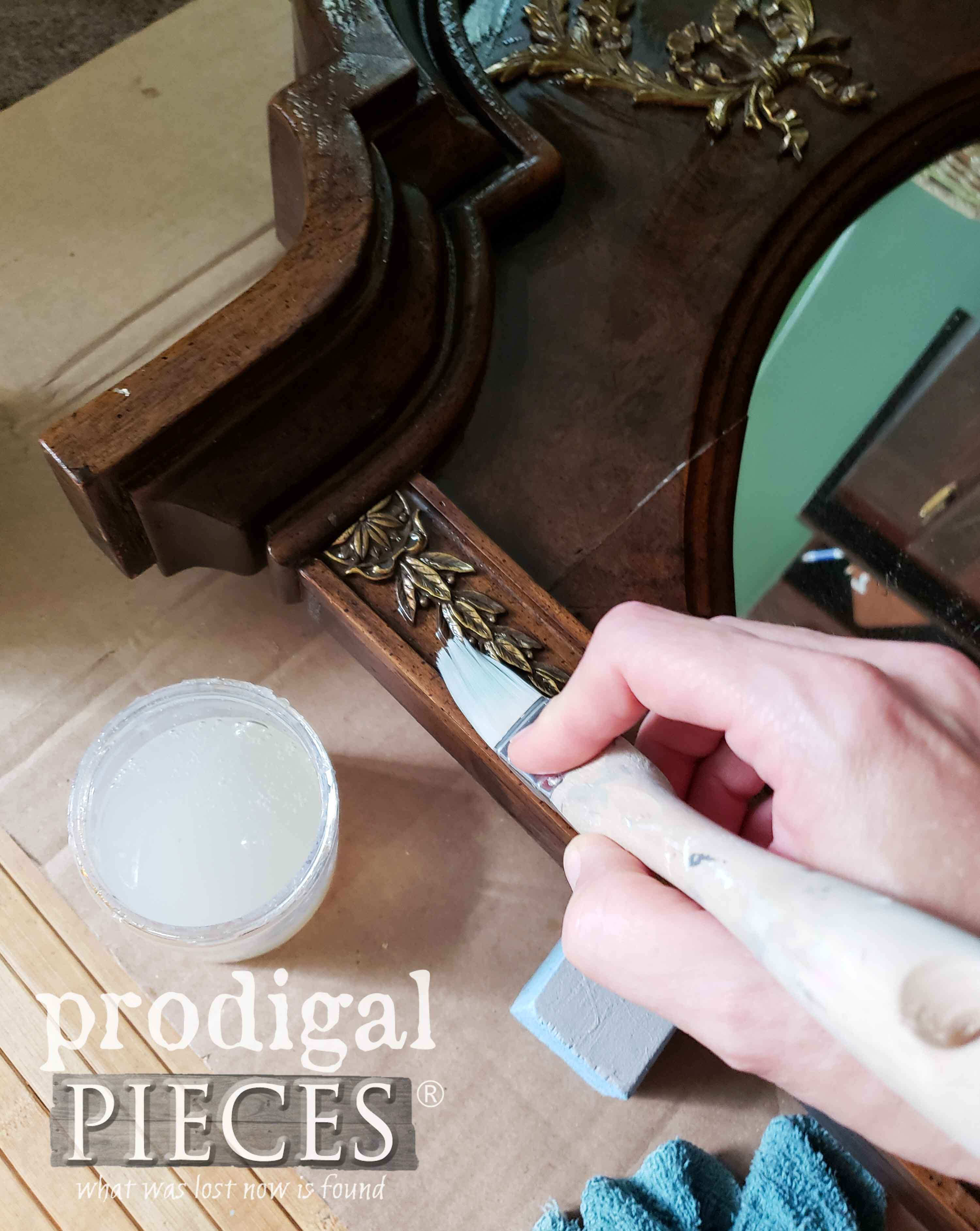 Applying Crackle to Upcycled Dresser Mirror | prodigalpieces.com
