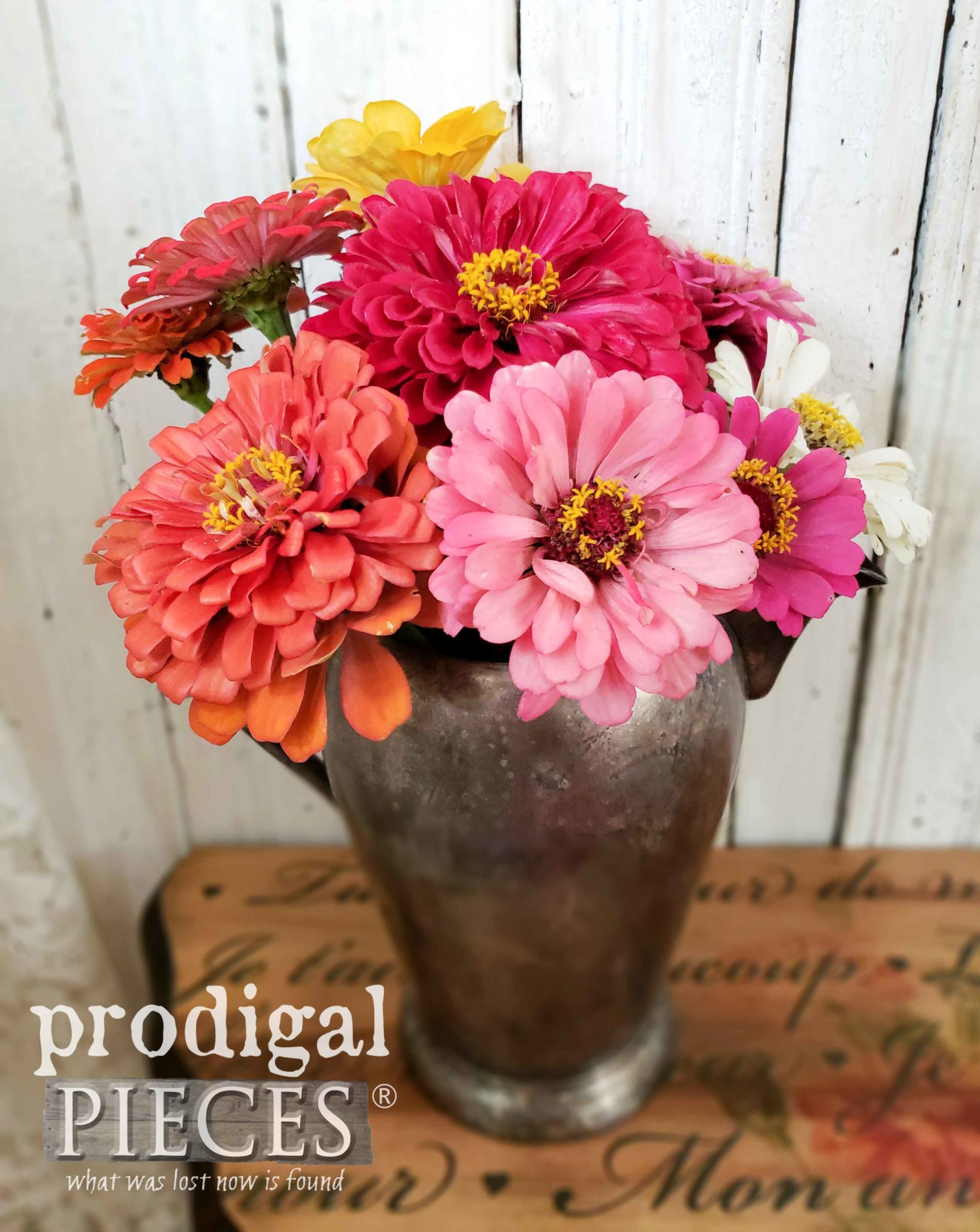 Beautiful Vintage Pewter Pitcher Filled with Zinnias from the Garden of Larissa at Prodigal Pieces | prodigalpieces.com