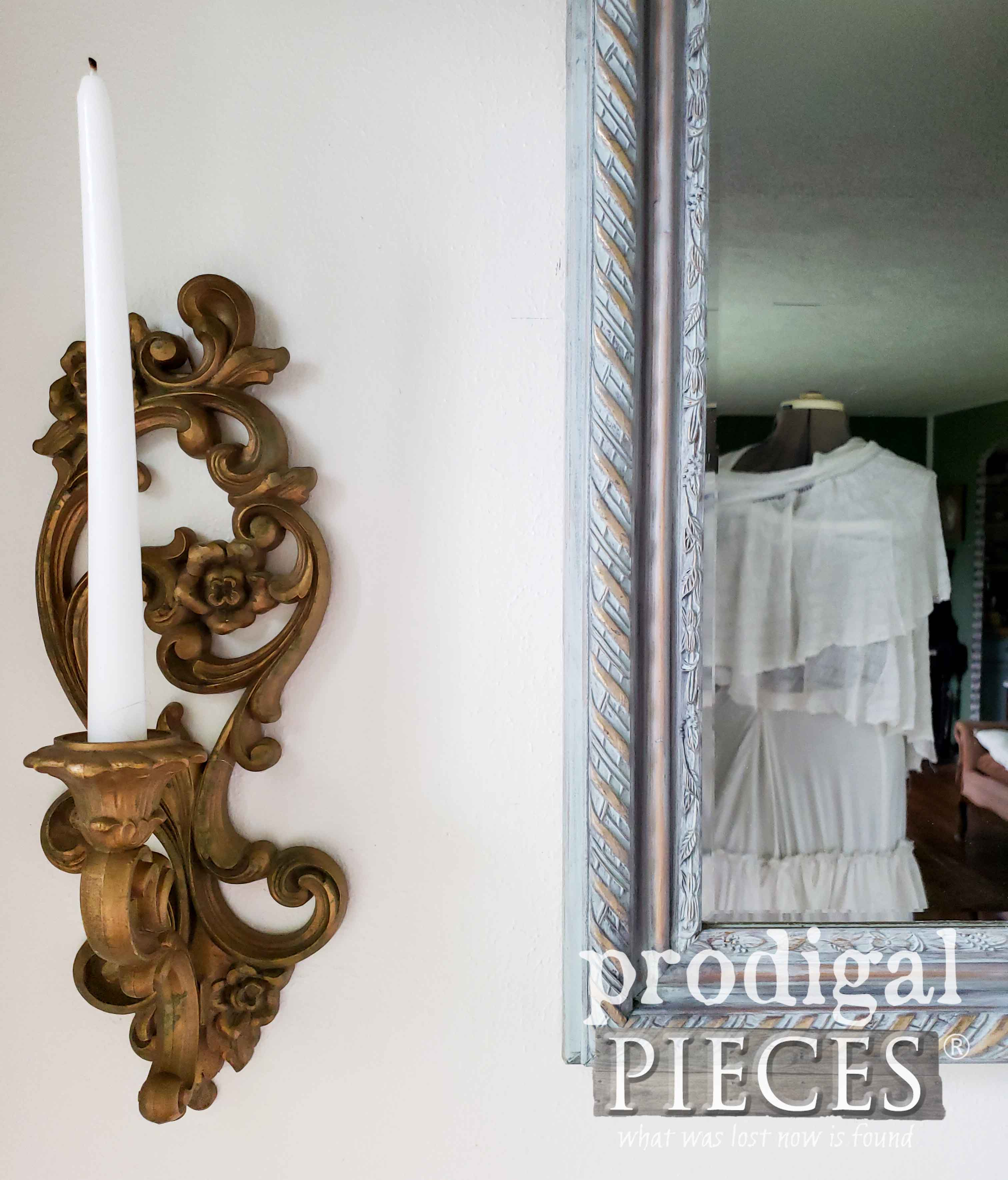 Beautiful Aqua Blue Gilded Mirror Available at Prodigal Pieces | prodigalpieces.com