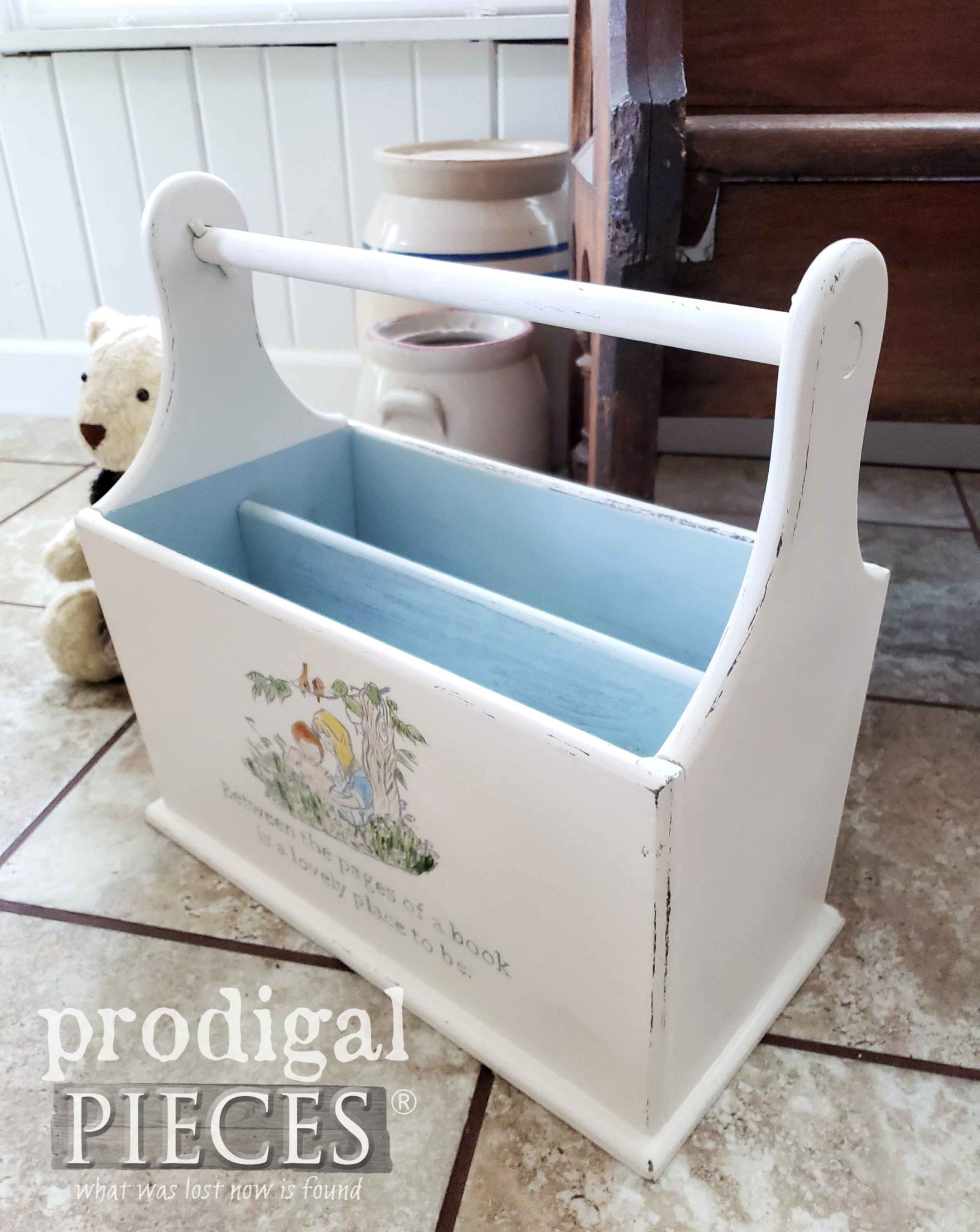 Make your own book caddy using an upcycled magazine rack | DIY details at Prodigal Pieces | prodigalpieces.com