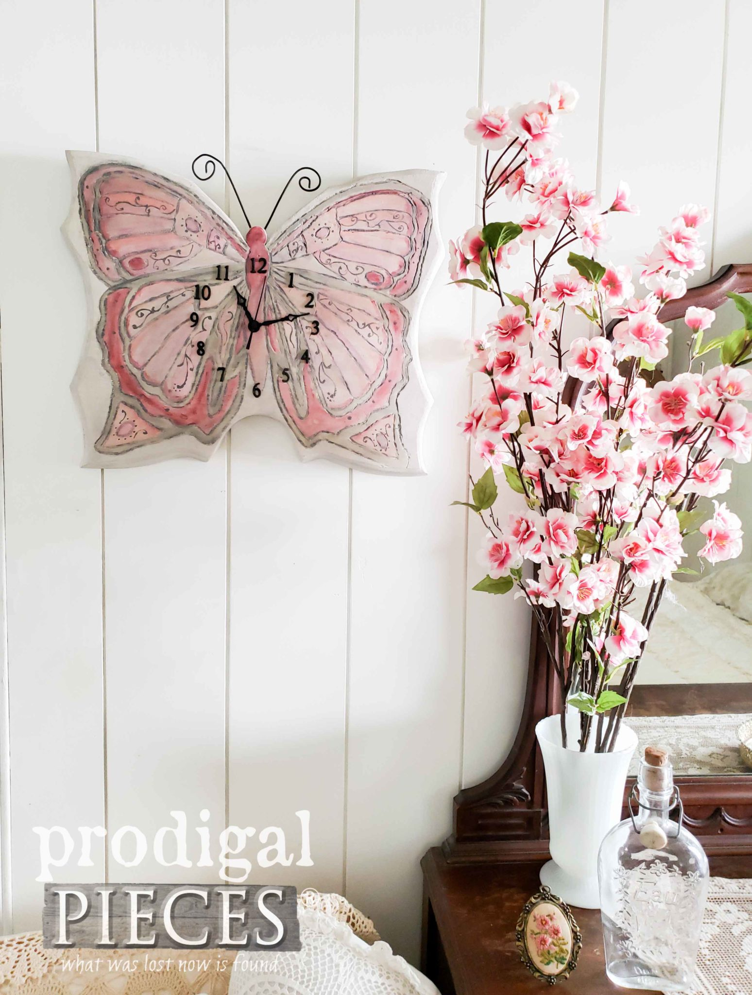 DIY Butterfly Wall Clock Created from an Upcycled Find by Larissa of Prodigal Pieces | prodigalpieces.com