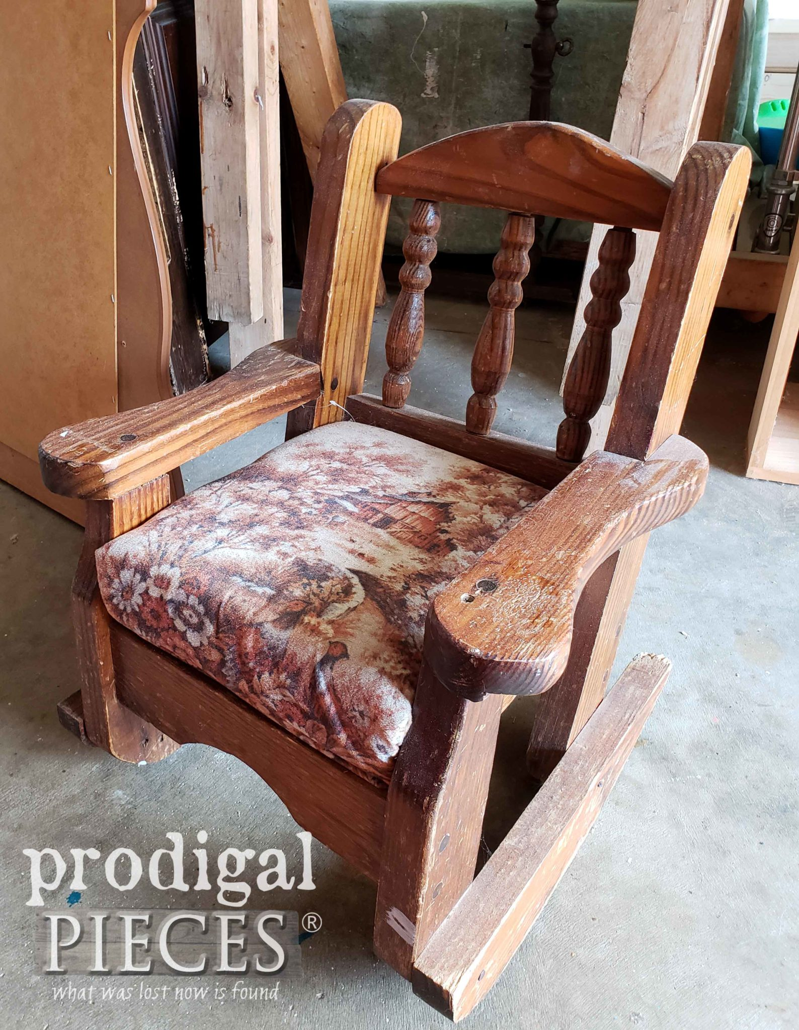 Vintage Child's Rocking Chair Before Makeover by Prodigal Pieces | prodigalpieces.com