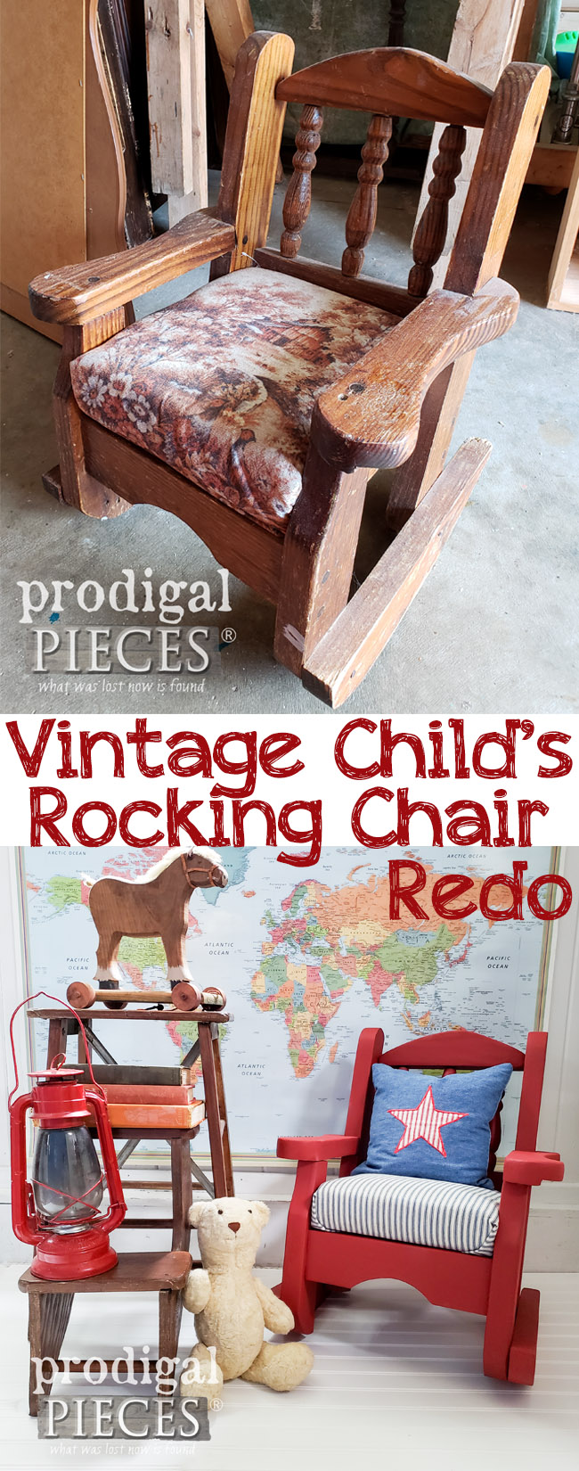 Oh my...I think every 80's child had that upholstery in their home! This vintage child's rocking chair needed an update and some TLC. Get the DIY details by Larissa at Prodigal Pieces at prodigalpieces.com | #prodigalpieces #furniture #homedecor #handmade #kids