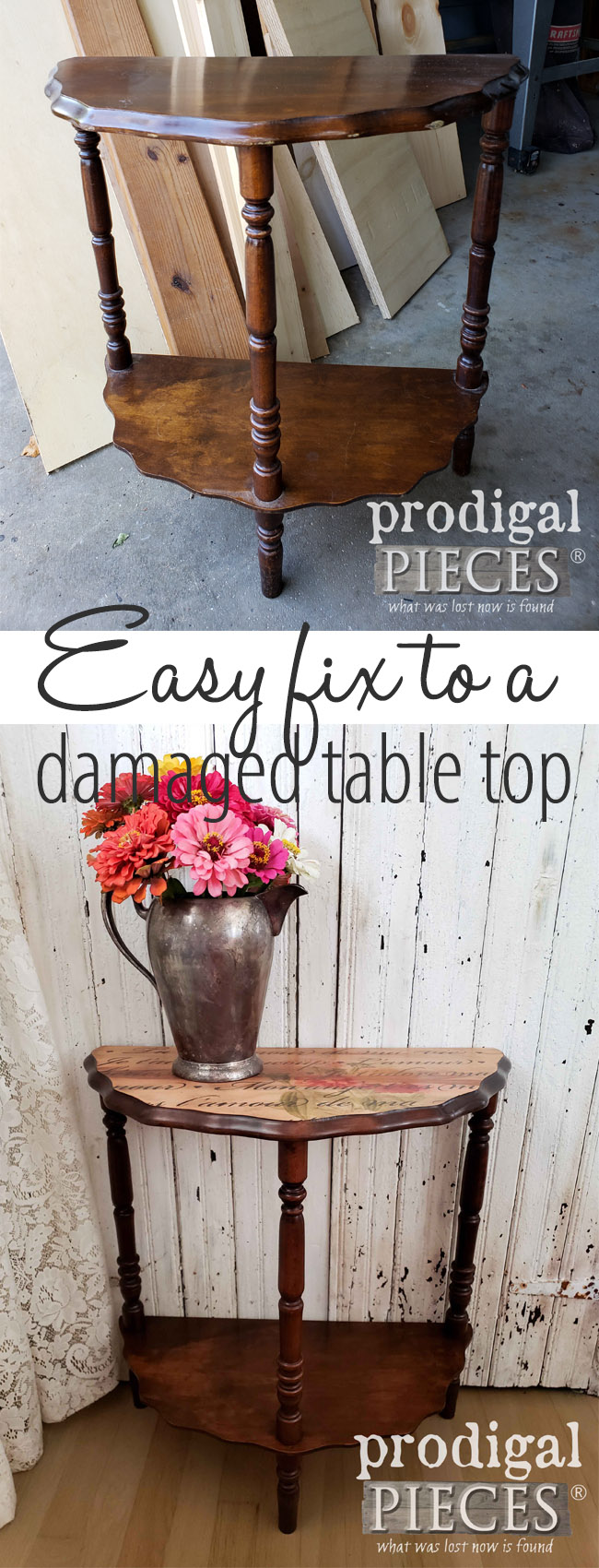 Got a table with wear you are thinking about getting rid of? Don't toss it just yet. See how easy this damaged table top repair can be with simple steps to create an entire new look with DIY image transfer and stencilng. Budget-friendly DIY by Larissa of Prodigal Pieces | prodigalpieces.com #prodigalpieces #diy #furniture #homedecor #handmade