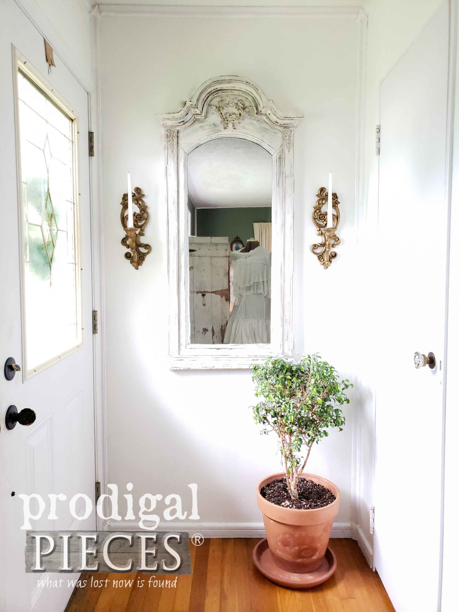 DIY Farmhouse Entry Using Upcycled Dresser Mirror as Decor to Create Depth and Interest by Larissa of Prodigal Pieces | prodigalpieces.com