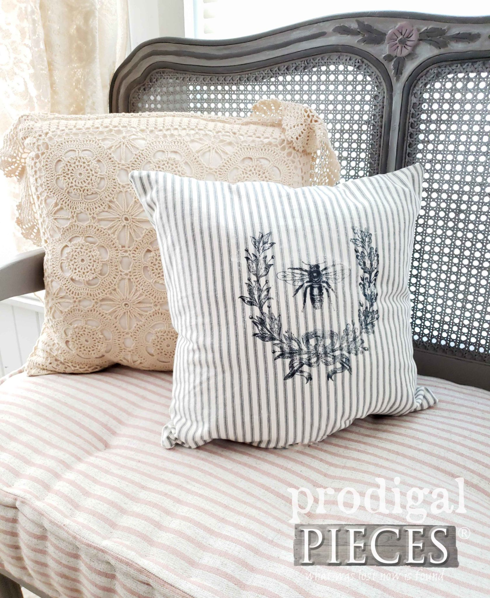 DIY French Ticking Pillow with Laurel Wreath and Bee Graphic by Larissa of Prodigal Pieces | prodigalpieces.com