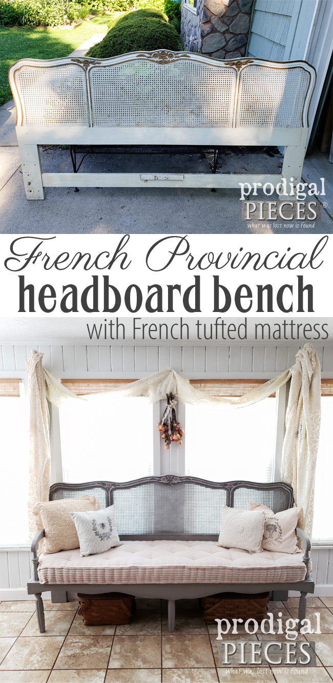 Simply beautiful. Larissa of Prodigal Pieces created this French Provincial headboard bench with a custom built frame as well as a handmade tufted French mattress. | DIY details at prodigalpieces.com #prodigalpieces #handmade #diy #homedecor #furniture #shopping