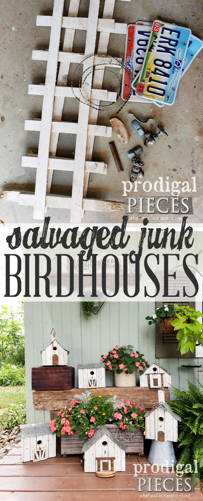 Get creative and build these salvaged junk birdhouses from what others deem trash. I call it #trashure. Full DIY details at Prodigal Pieces | prodigalpieces.com #prodigalpieces #handmade #diy #homedecor