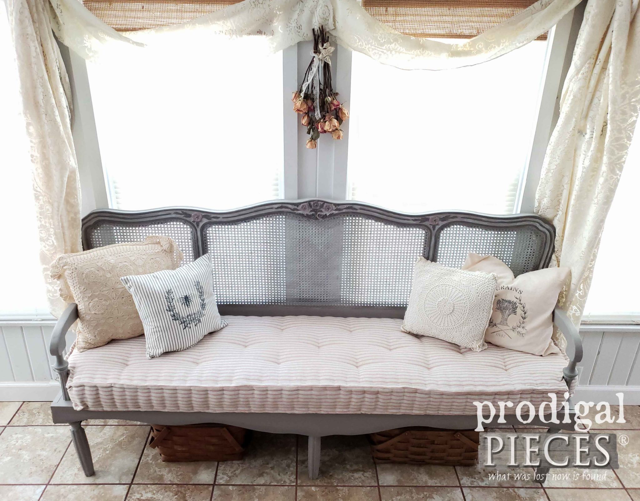 DIY Tufted French Mattress on Custom Headboard Bench Made by Larissa of Prodigal Pieces | prodigalpieces.com