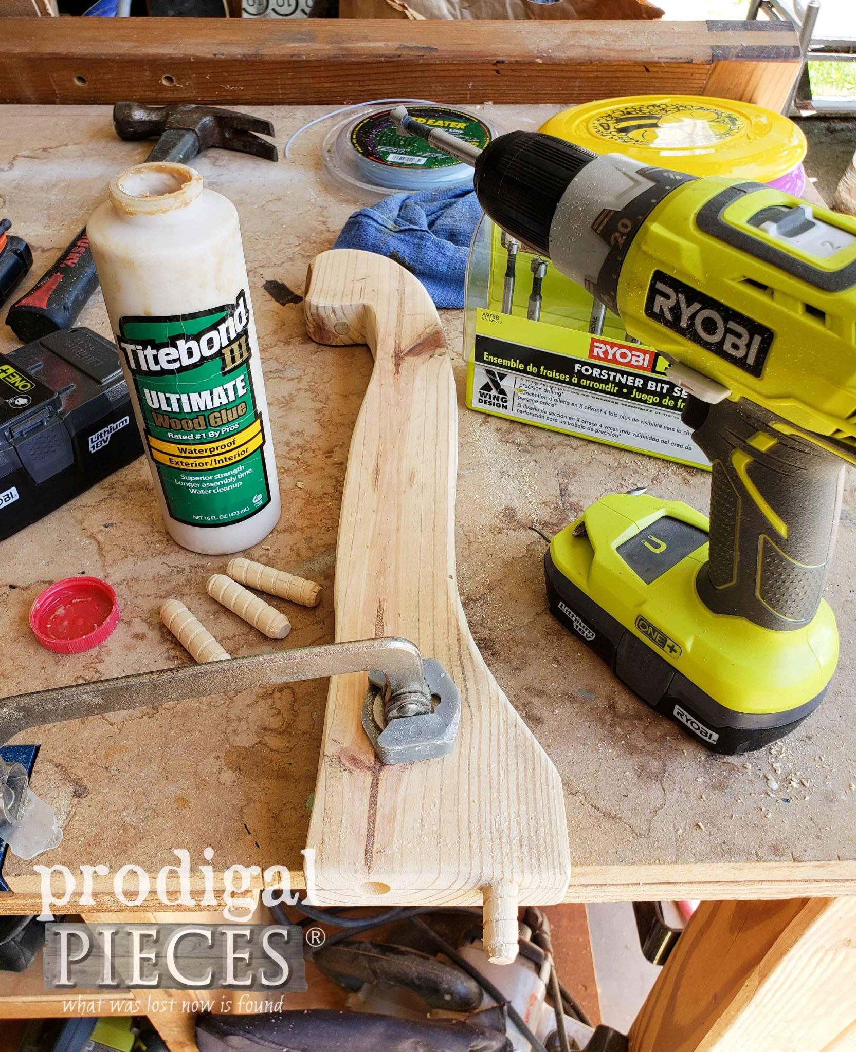 Drilling Peg Holes for Headboard Bench Assembly with Ryobi Drill | prodigalpieces.com