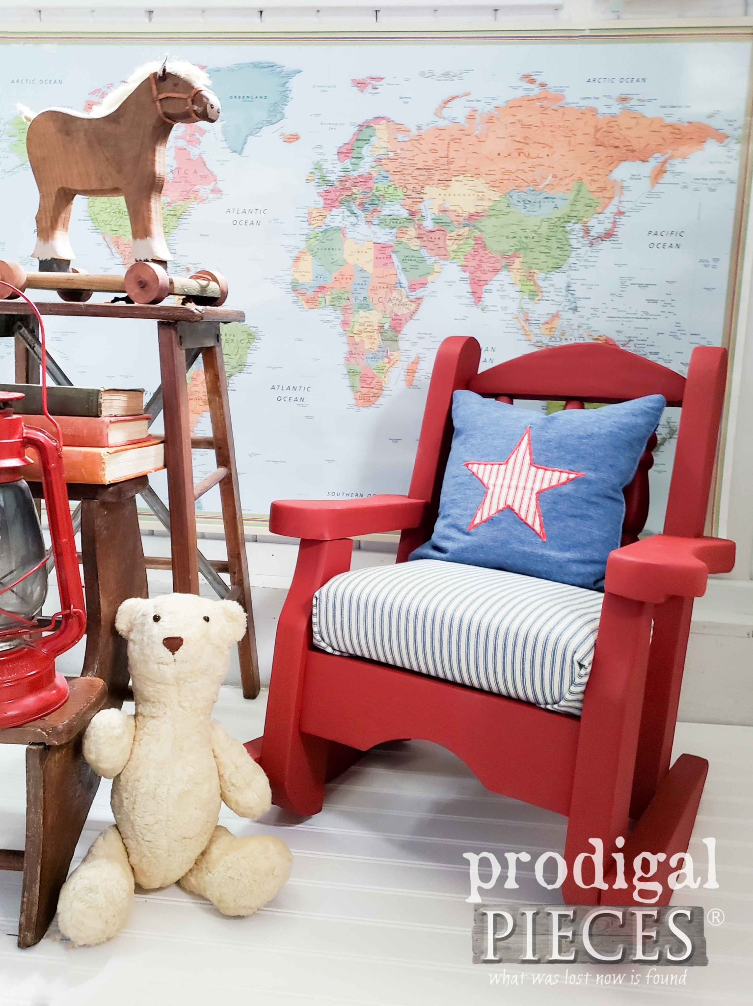 Farmhouse Red Child's Rocking Chair with Ticking Stripe Upholstery by Larissa of Prodigal Pieces | prodigalpieces.com