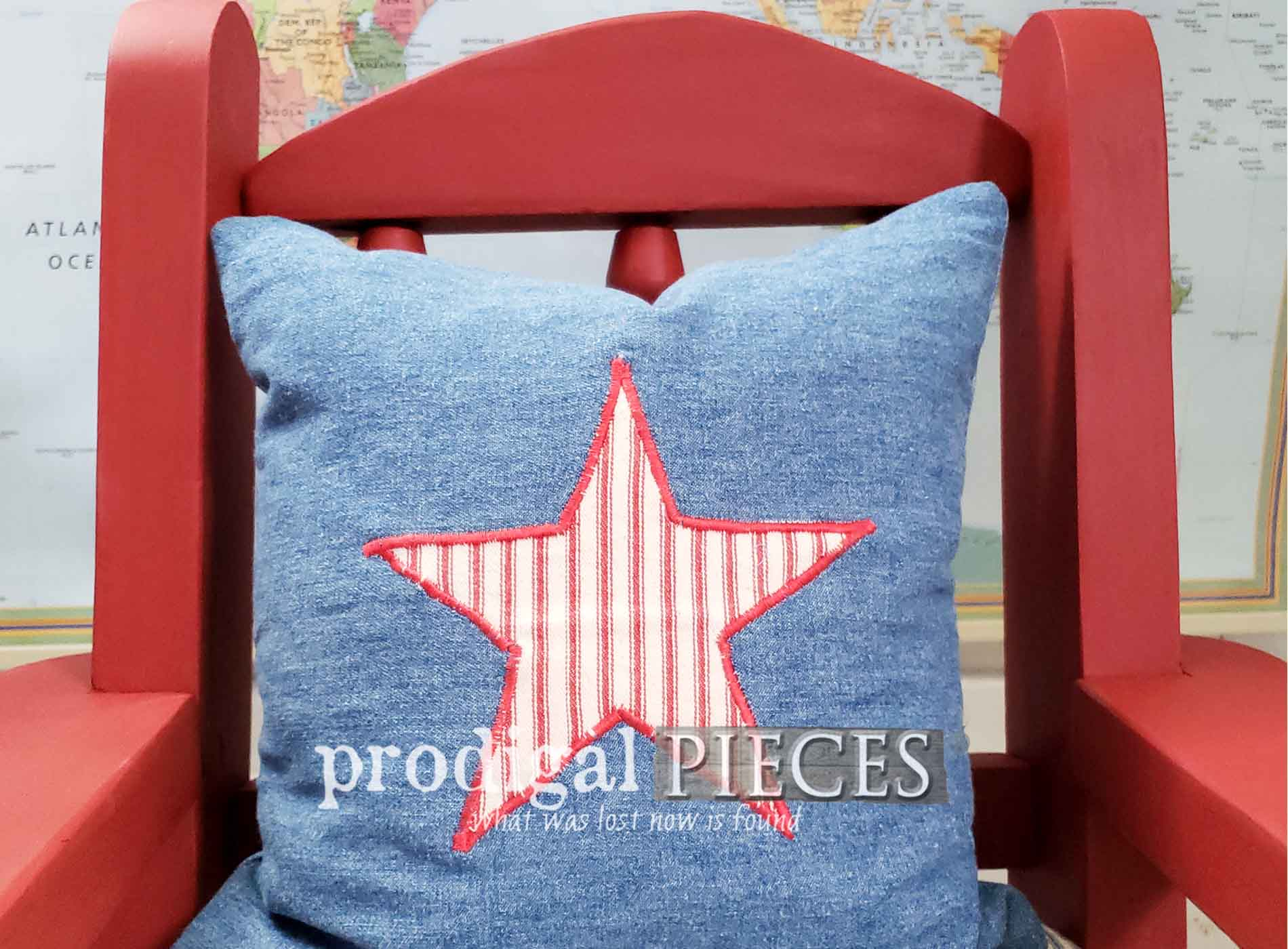 Featured Child's Rocking Chair with New Upholstery and Pillow by Prodigal Pieces | prodigalpieces.com