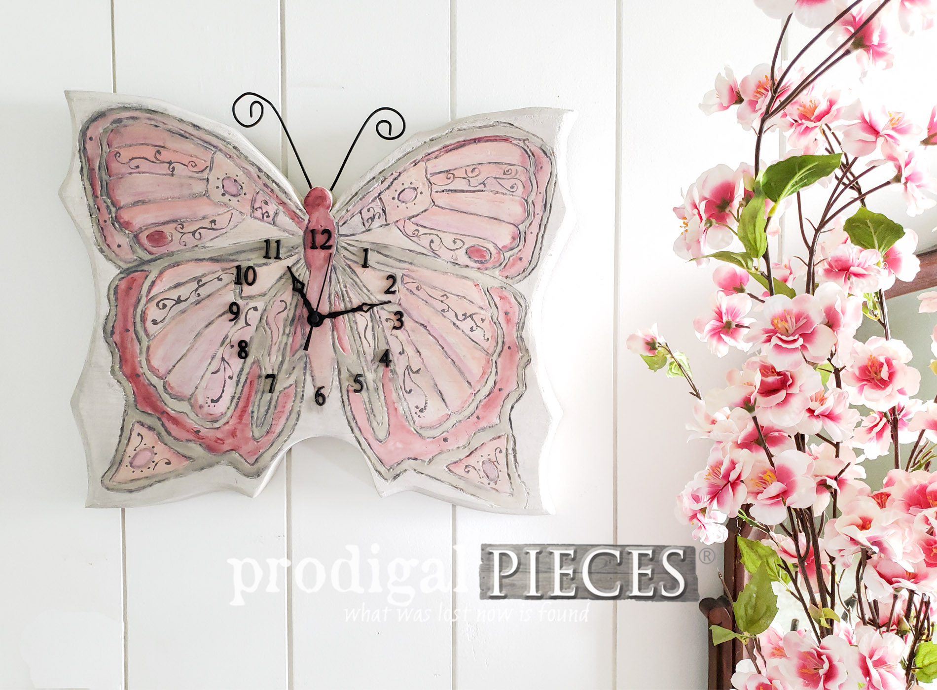 Featured Upcycled Clock Made into a Beautiful Butterfly by Larissa of Prodigal Pieces | prodigalpieces.com